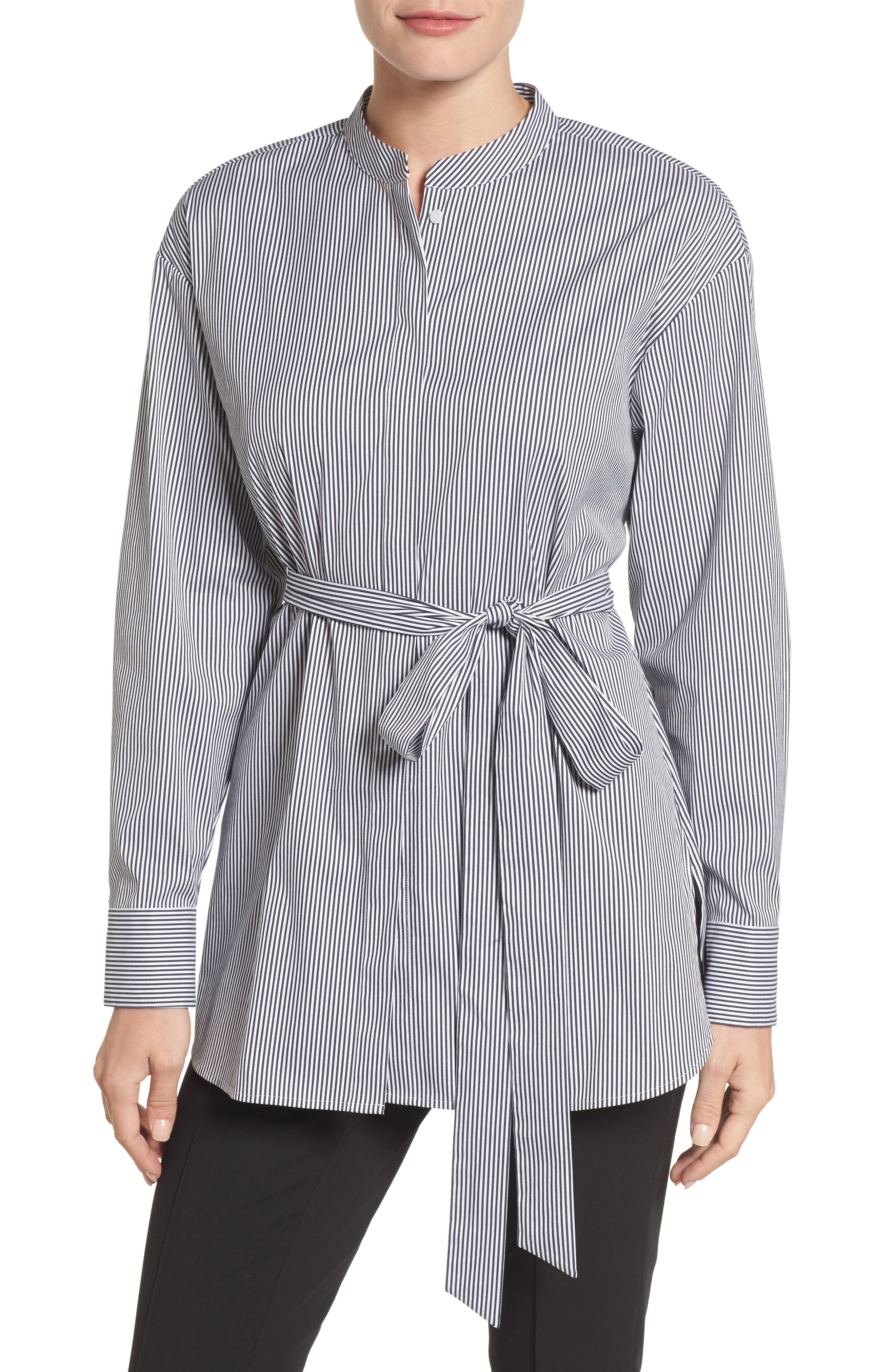 Alternate Image 1 Selected - Halogen® Belted Poplin Shirt (Regular & Petite)