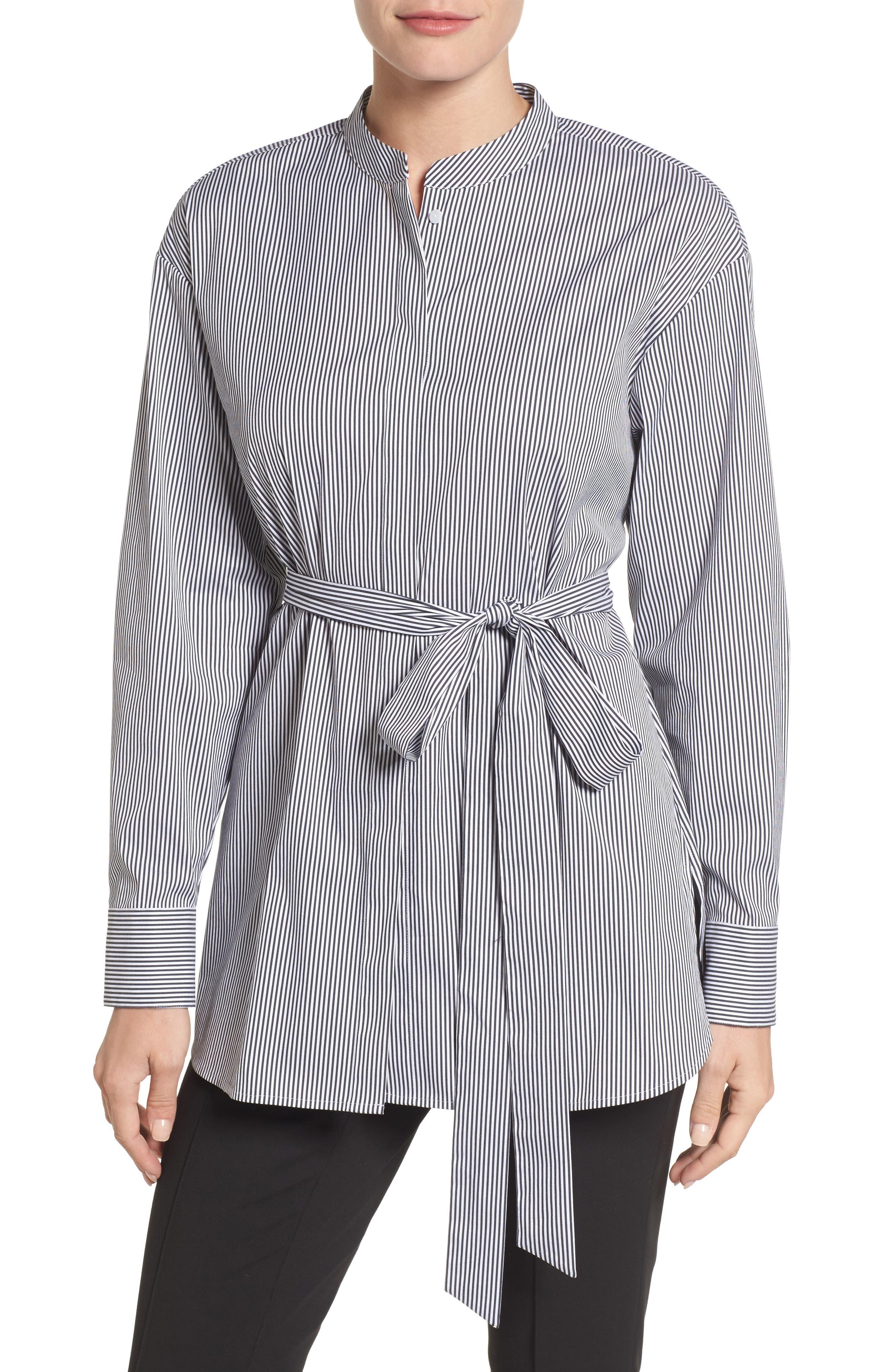 Main Image - Halogen® Belted Poplin Shirt (Regular & Petite)