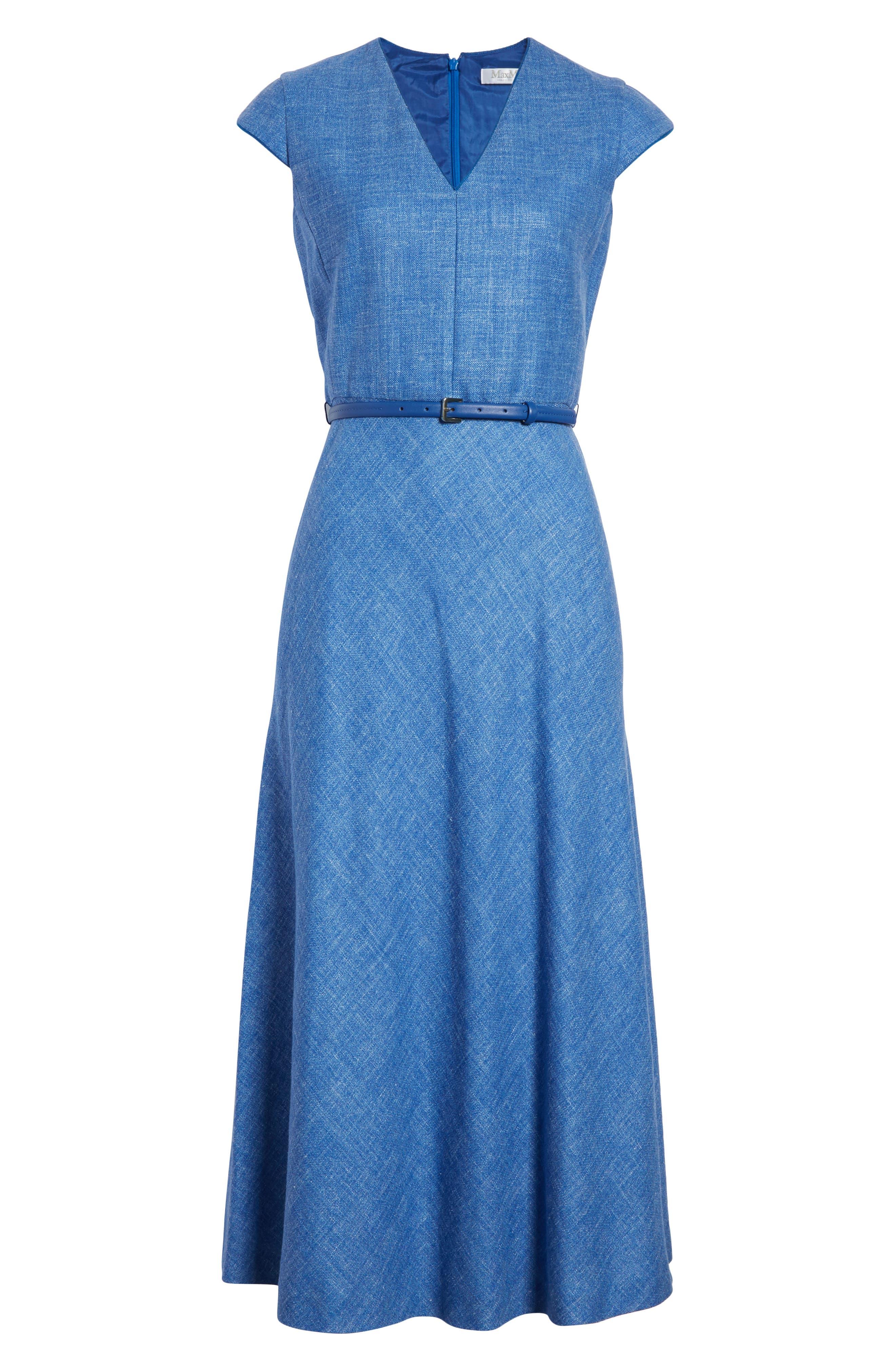 Caramba Silk, Linen & Wool Midi Dress,                             Alternate thumbnail 6, color,                             Cornflower Blue