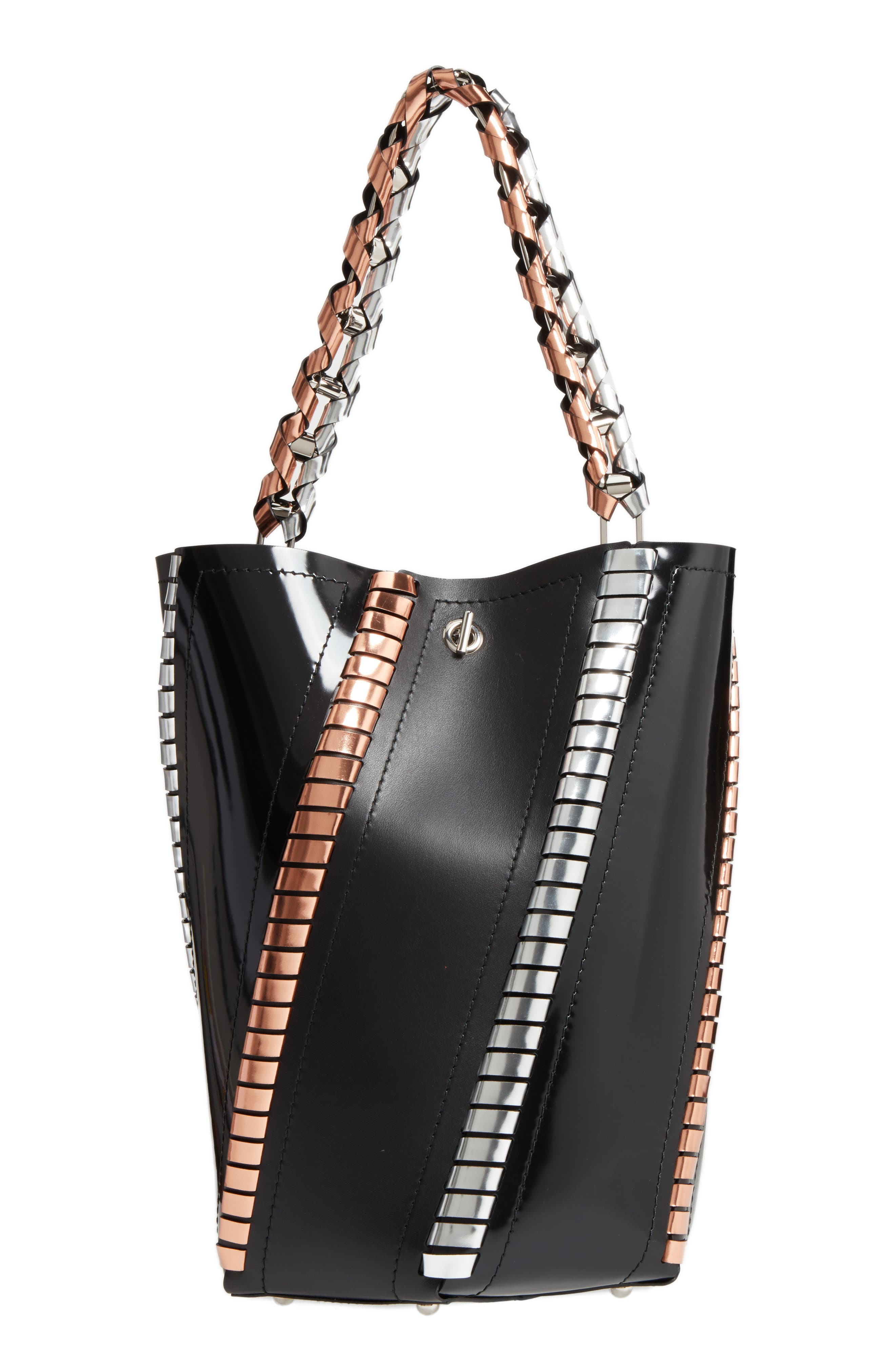 Medium Hex Metallic Whipstitch Leather Bucket Bag,                             Main thumbnail 1, color,                             Black Mix
