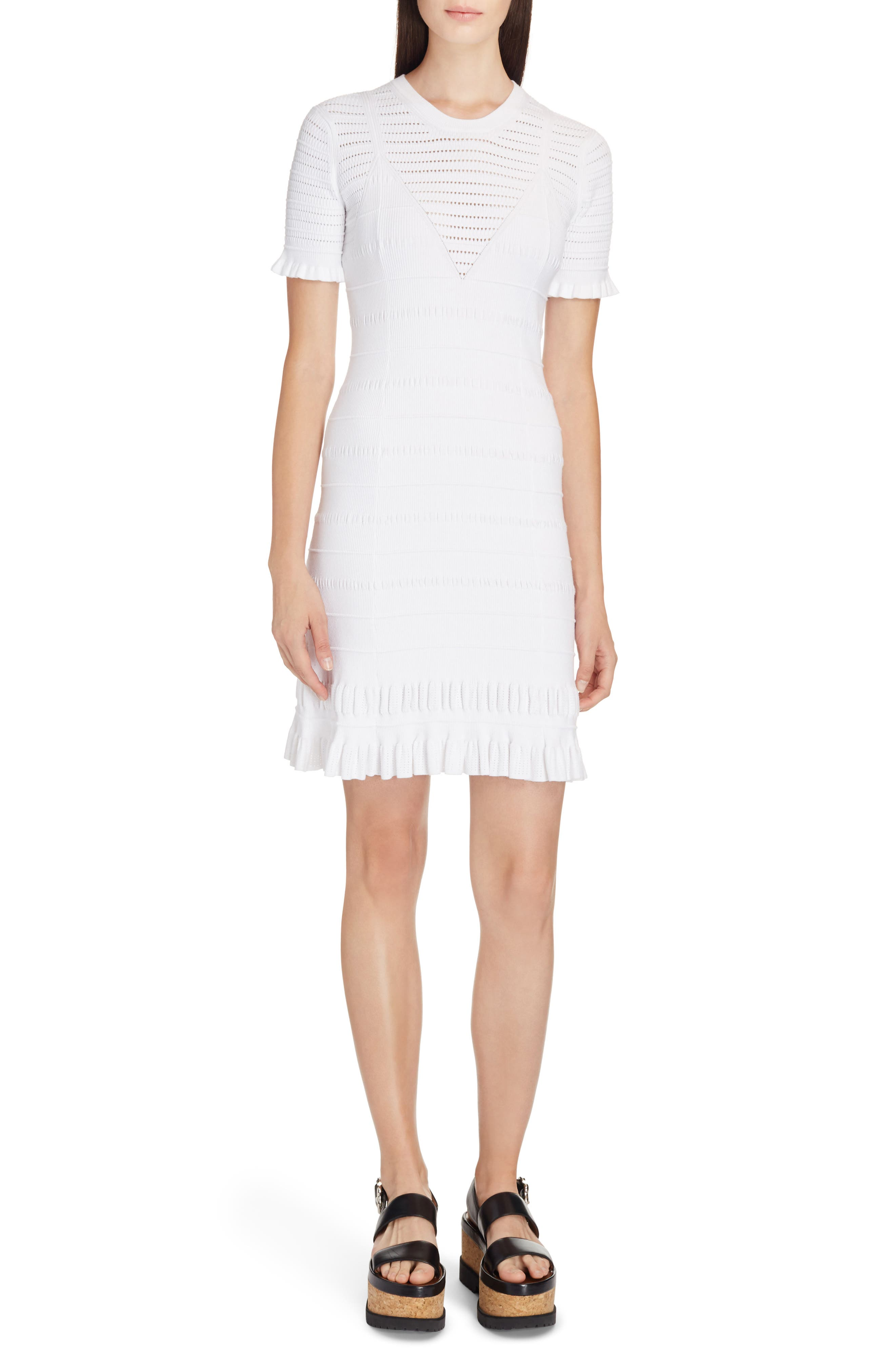 Knit Ruffle Hem Dress,                         Main,                         color, White