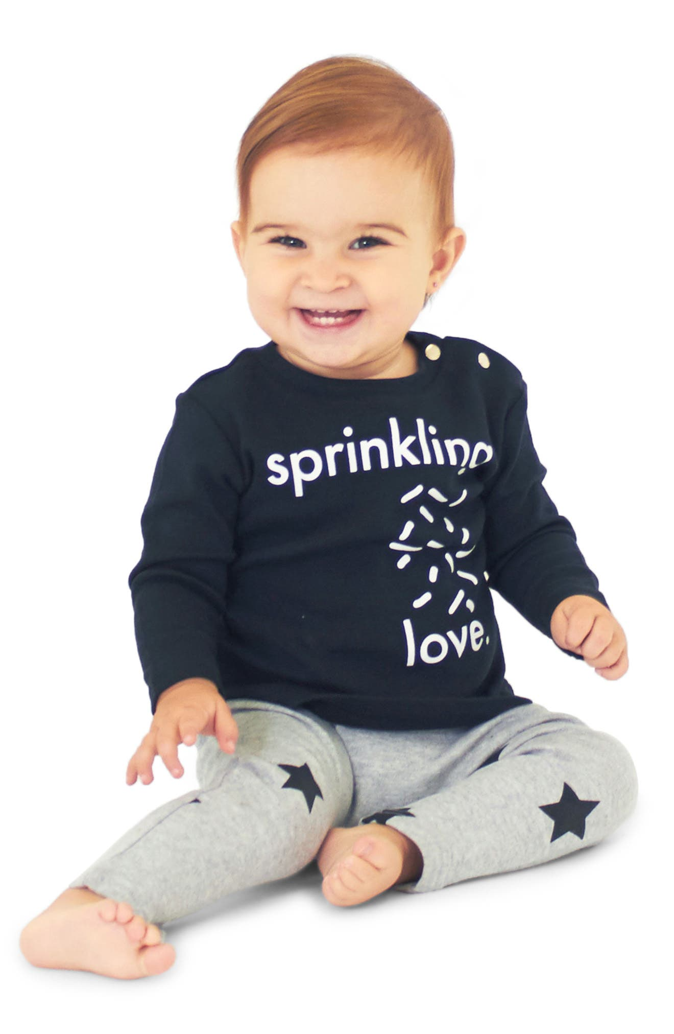 Sprinkling Love Graphic Tee & Leggings Set,                             Alternate thumbnail 2, color,                             Black And Grey