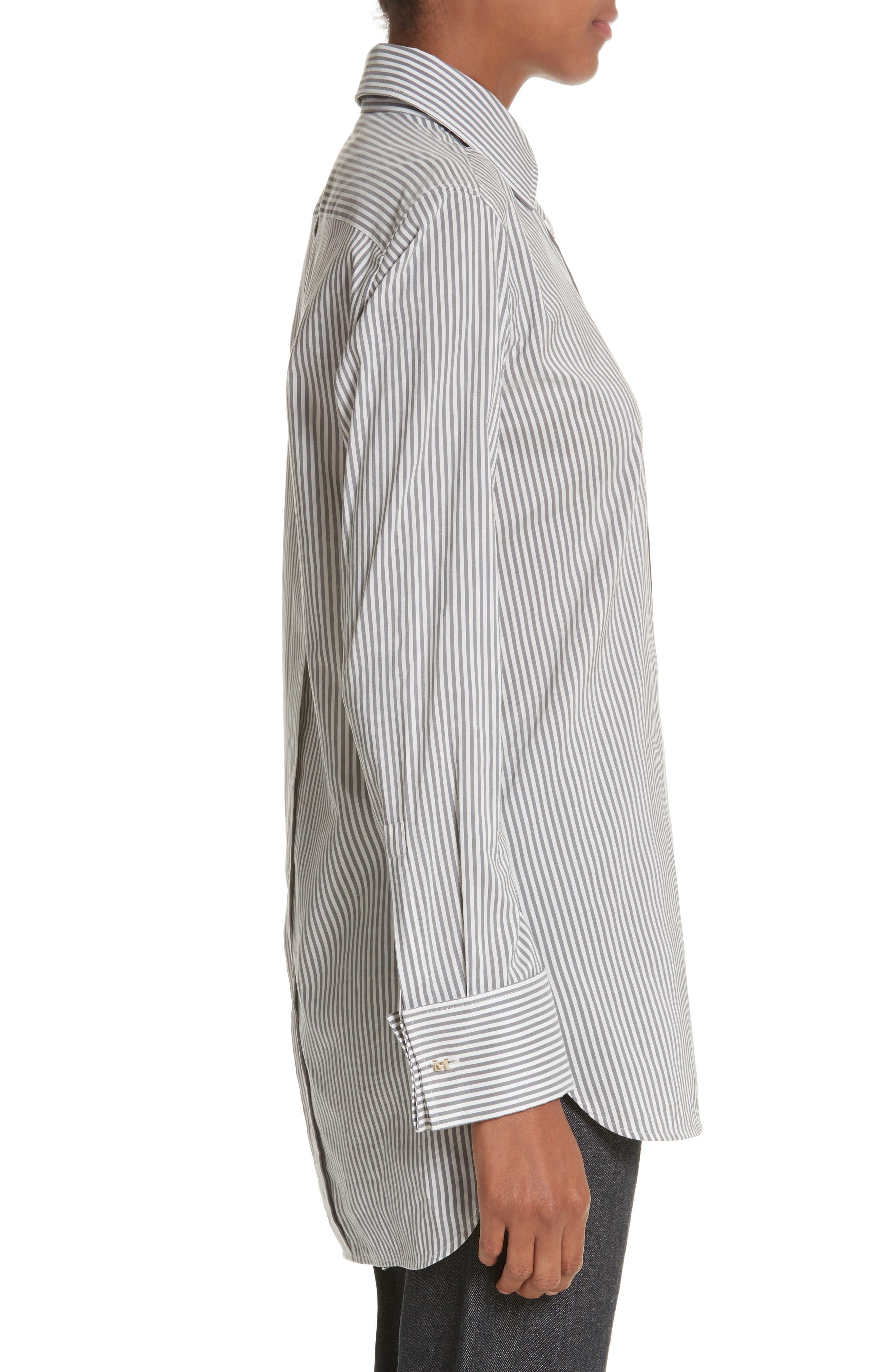 Filato Stripe Cotton & Silk Shirt,                             Alternate thumbnail 3, color,                             Medium Grey