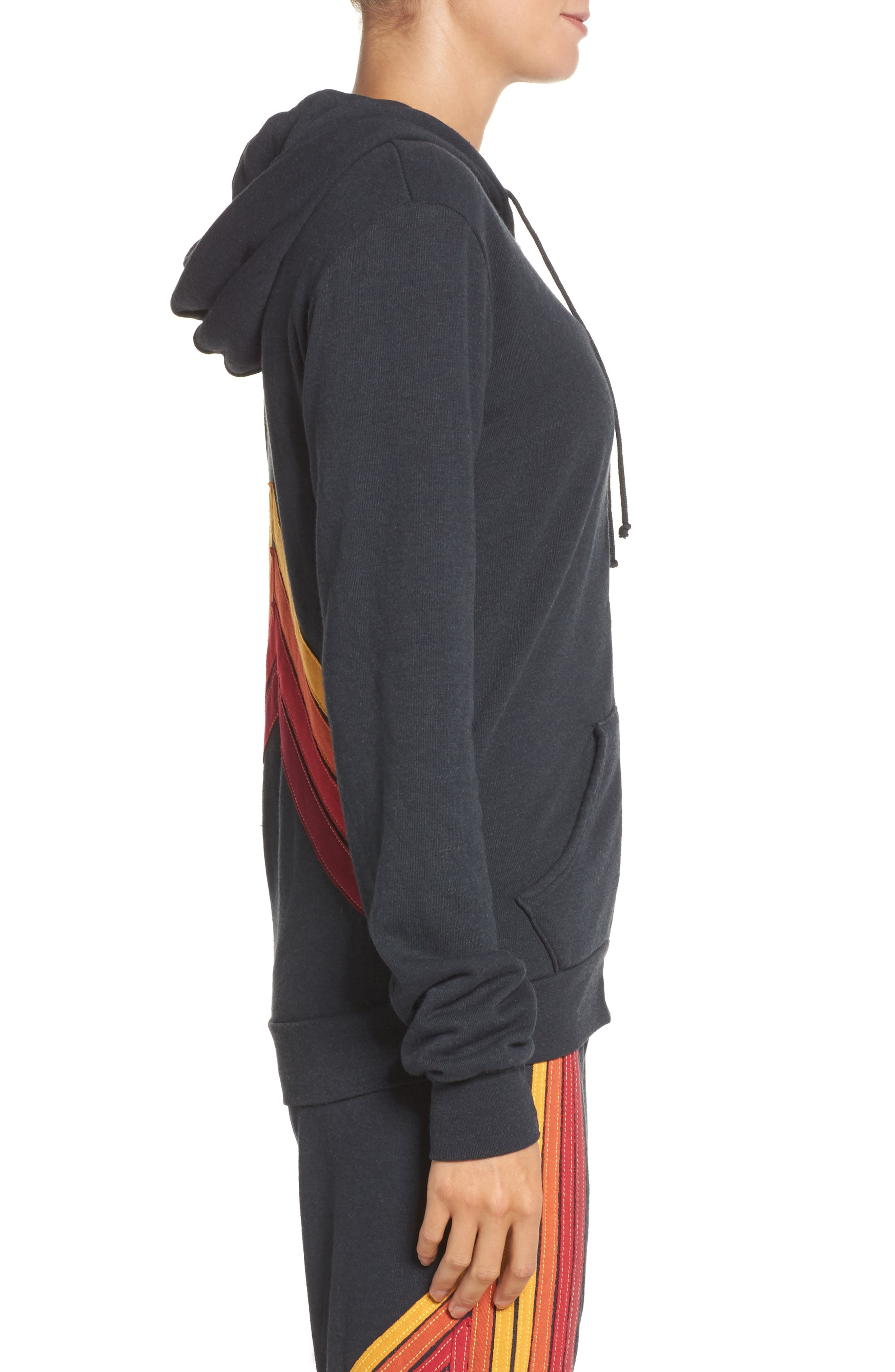 Mountain Stripe Zip Hoodie,                             Alternate thumbnail 3, color,                             Charcoal/ Red Stripes
