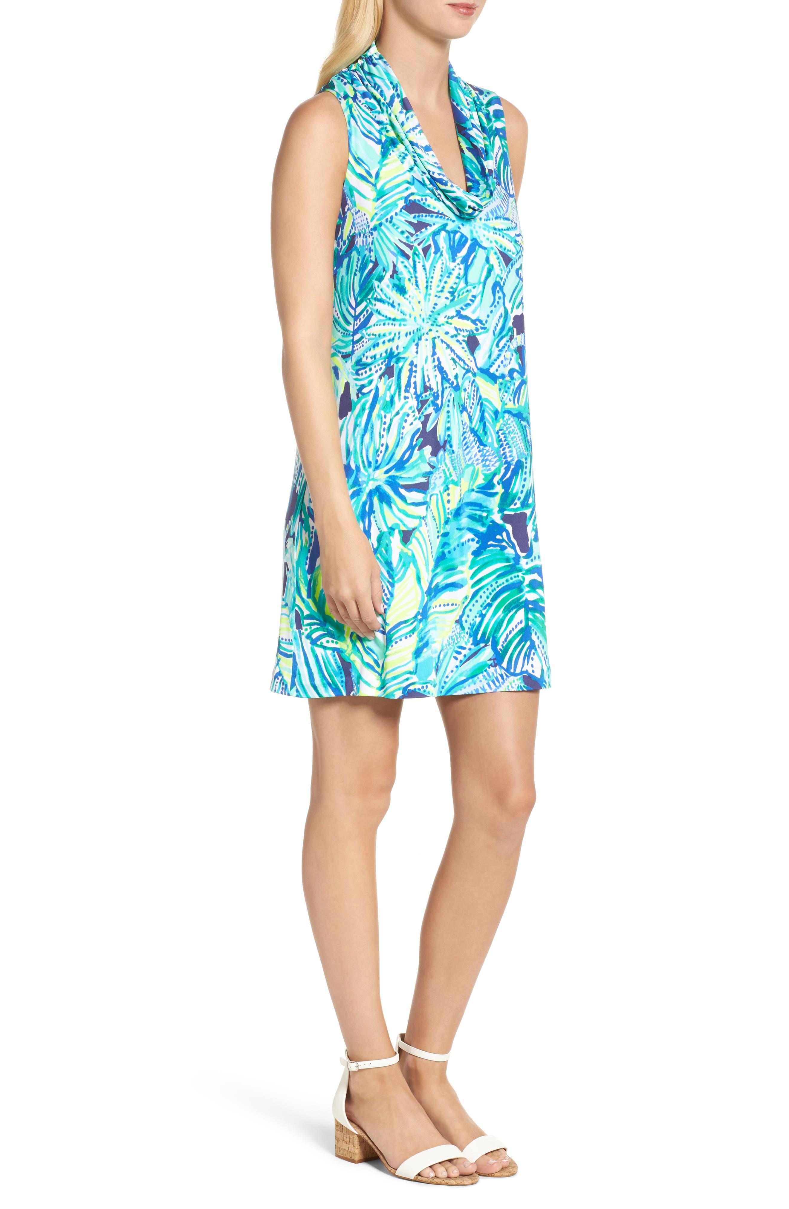 Lyza Silk Shift Dress,                             Alternate thumbnail 3, color,                             Bright Navy Dally
