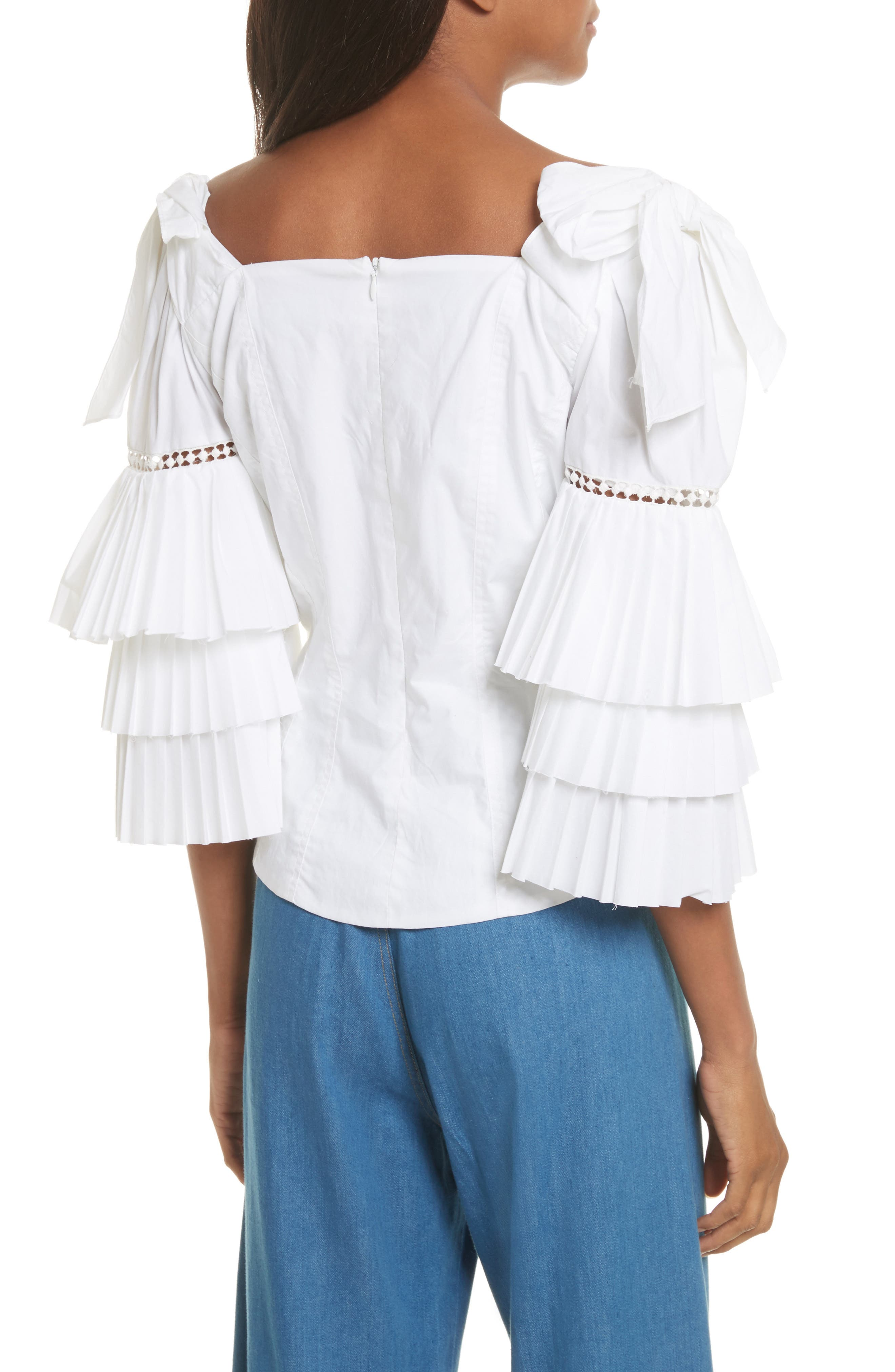Antoinette Ruffle Sleeve Blouse,                             Alternate thumbnail 3, color,                             White