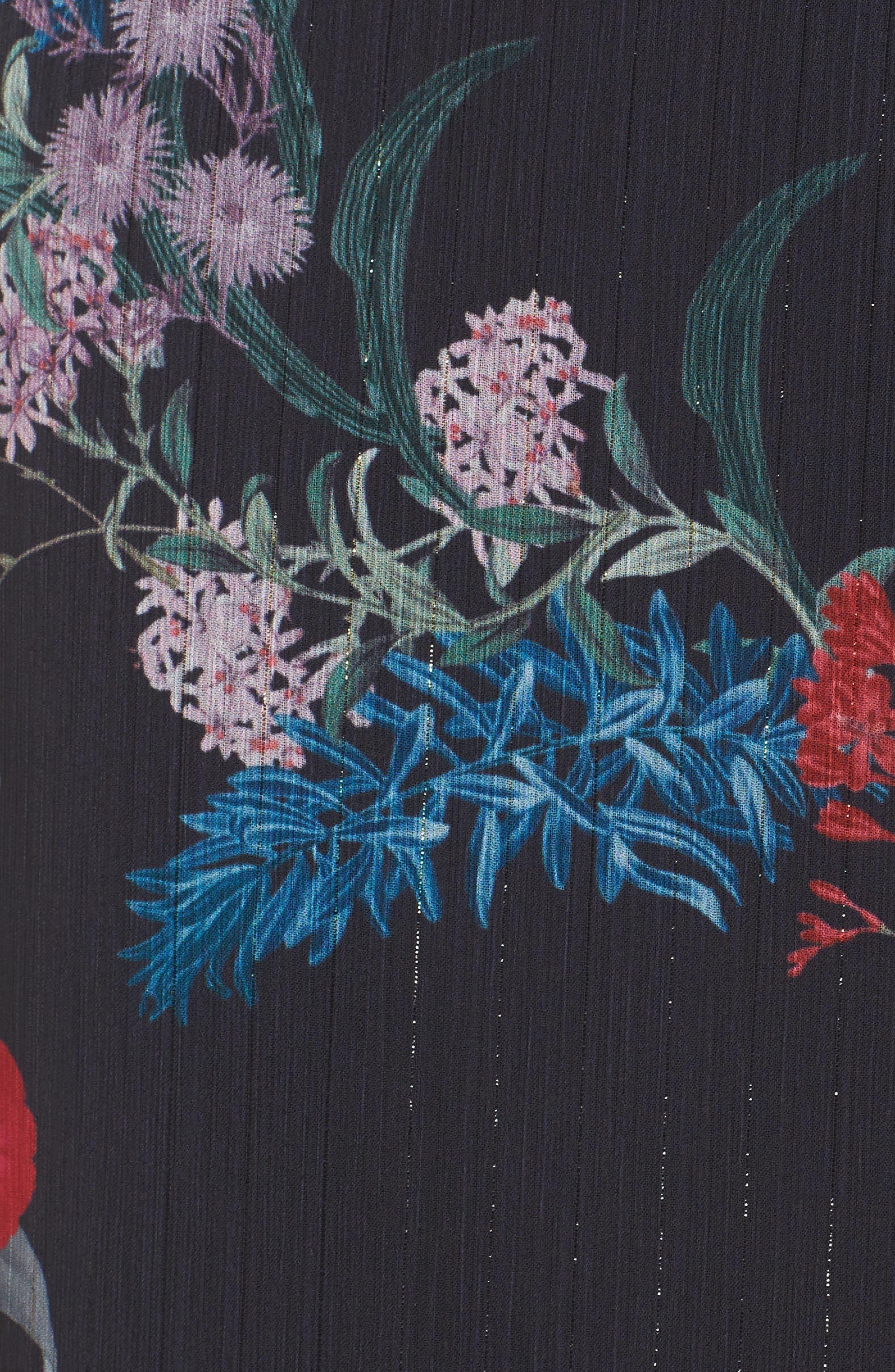 Ruffle Chiffon Midi Dress,                             Alternate thumbnail 6, color,                             Black Botanic Floral