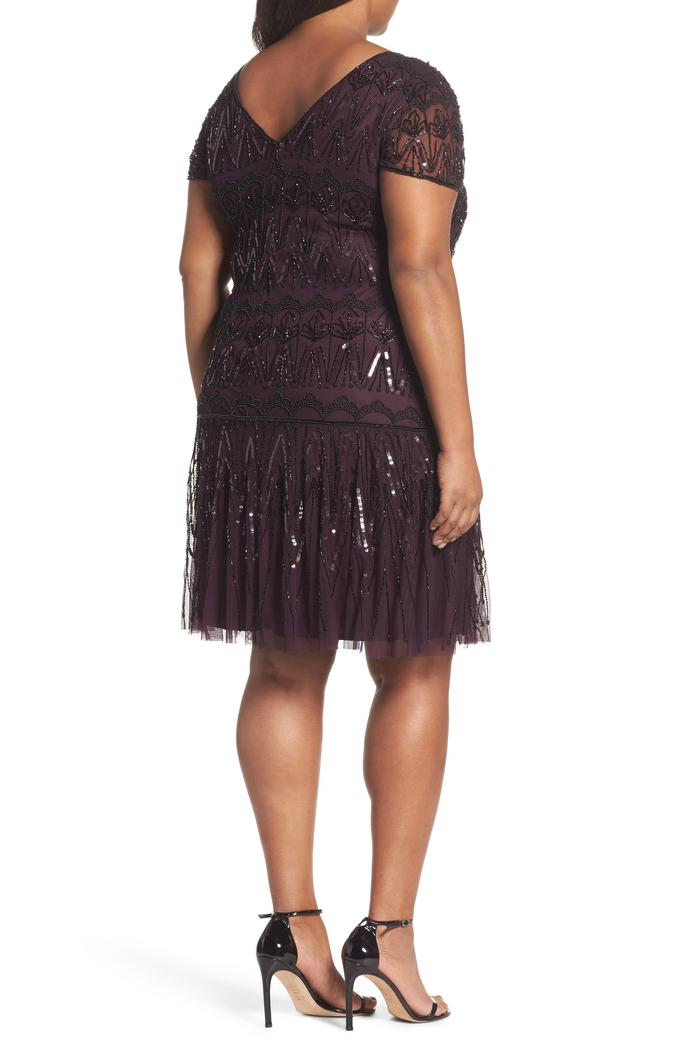 Beaded Flounce Dress,                             Alternate thumbnail 2, color,                             Wine