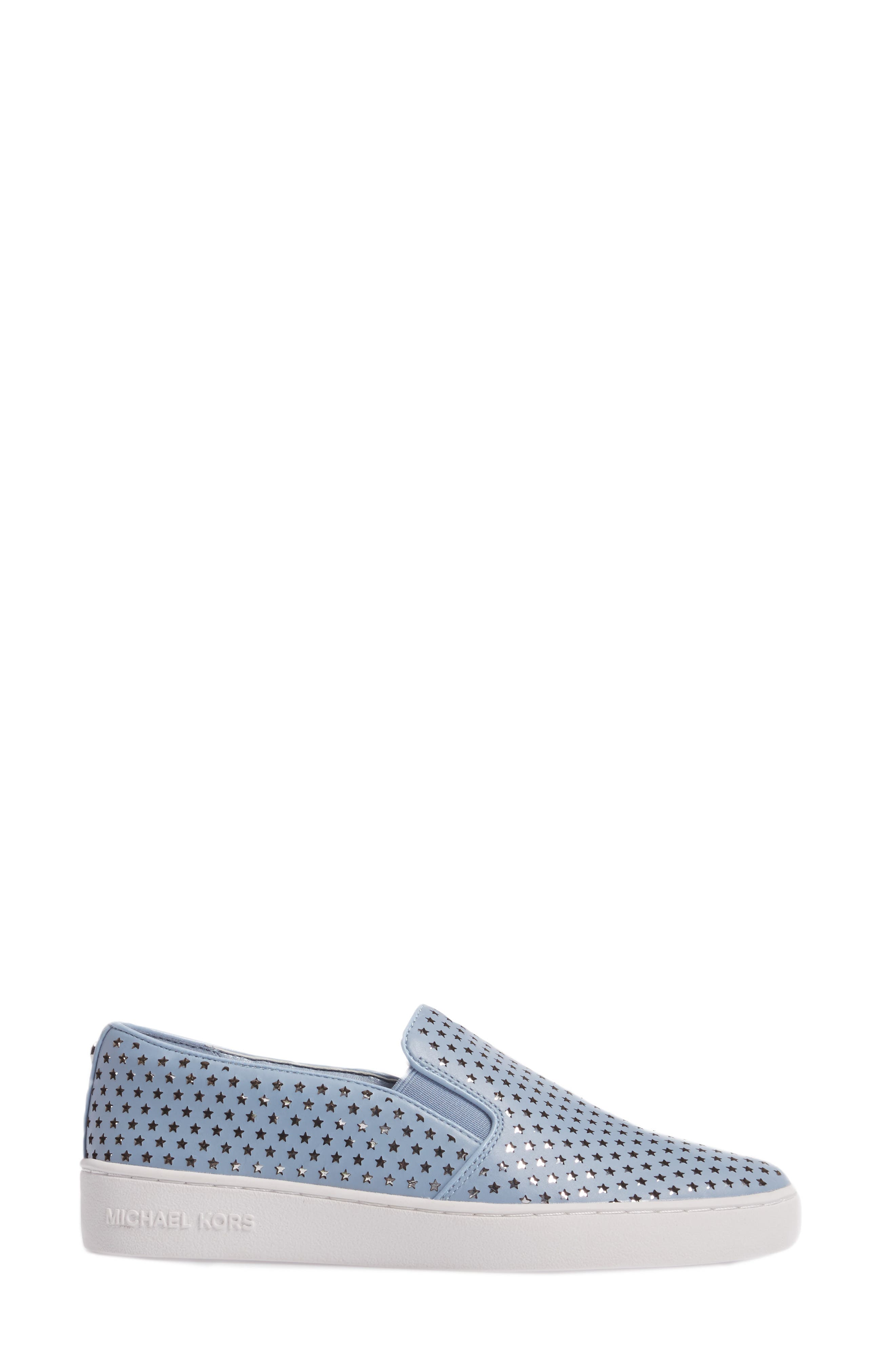 Keaton Slip-On Sneaker,                             Alternate thumbnail 3, color,                             Pale Blue Perforated Star