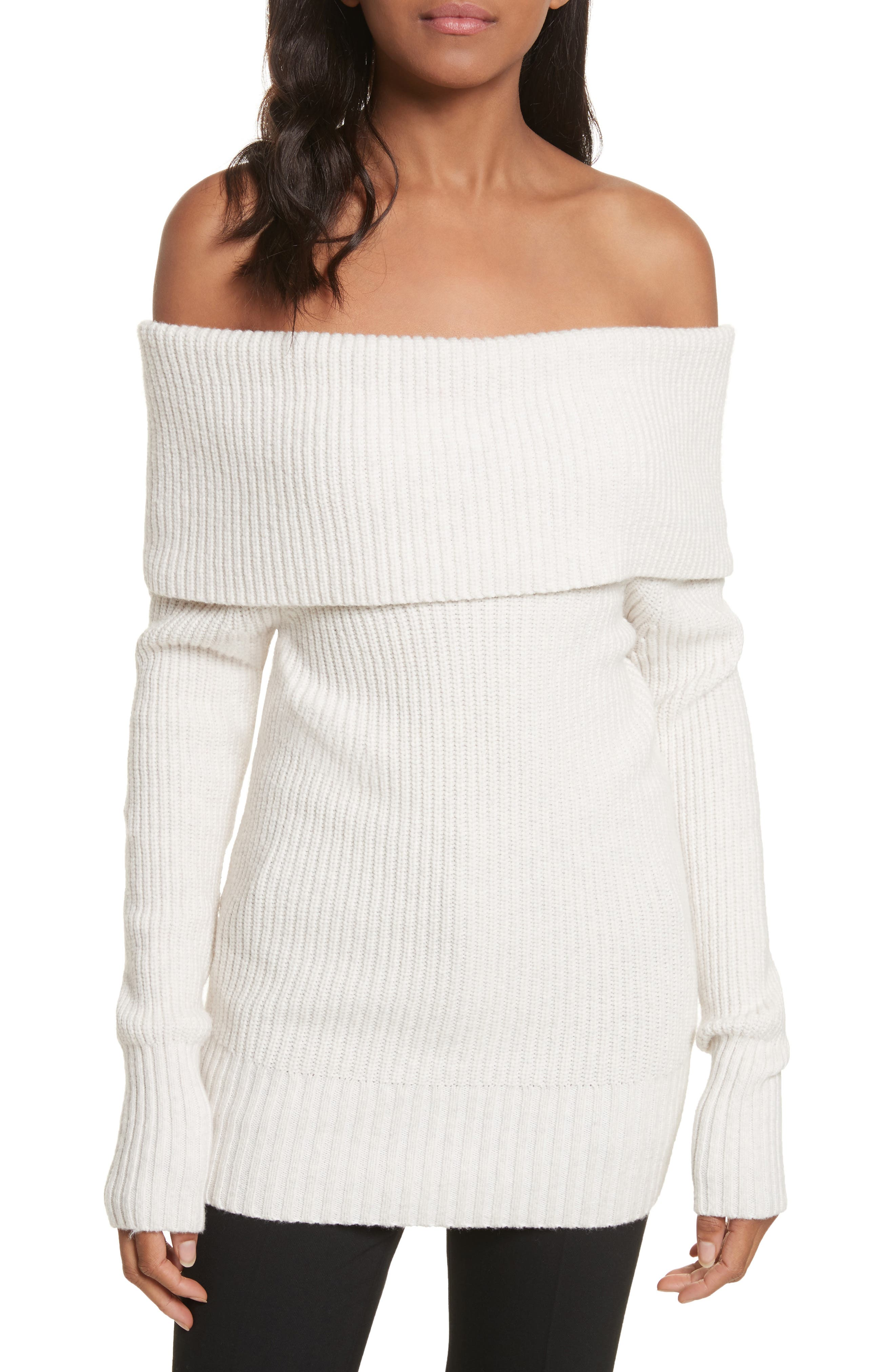 Off the Shoulder Sweater,                         Main,                         color, Pearl