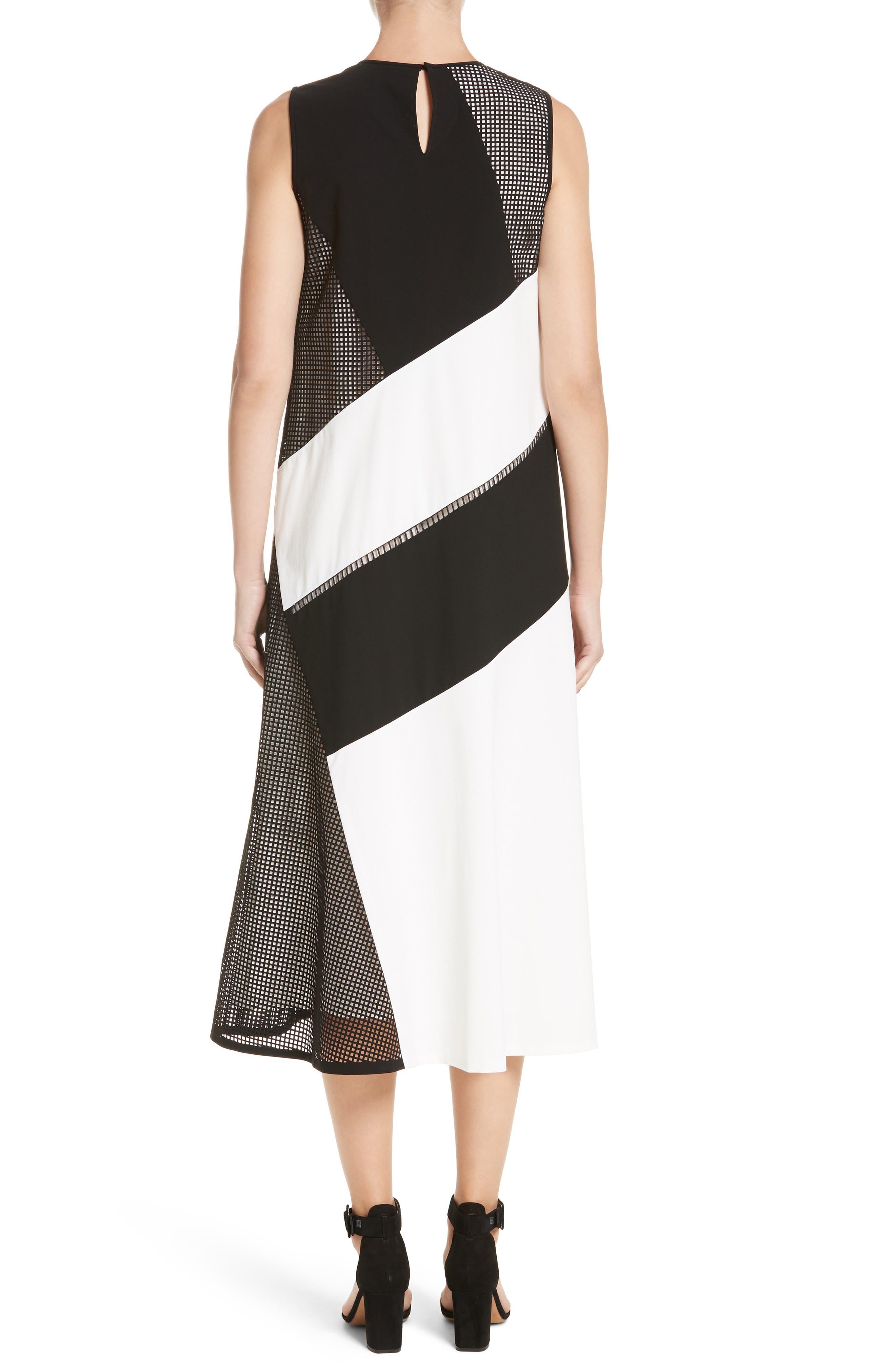 Nuri Laser Cut Midi Dress,                             Alternate thumbnail 2, color,                             Black/Cloud