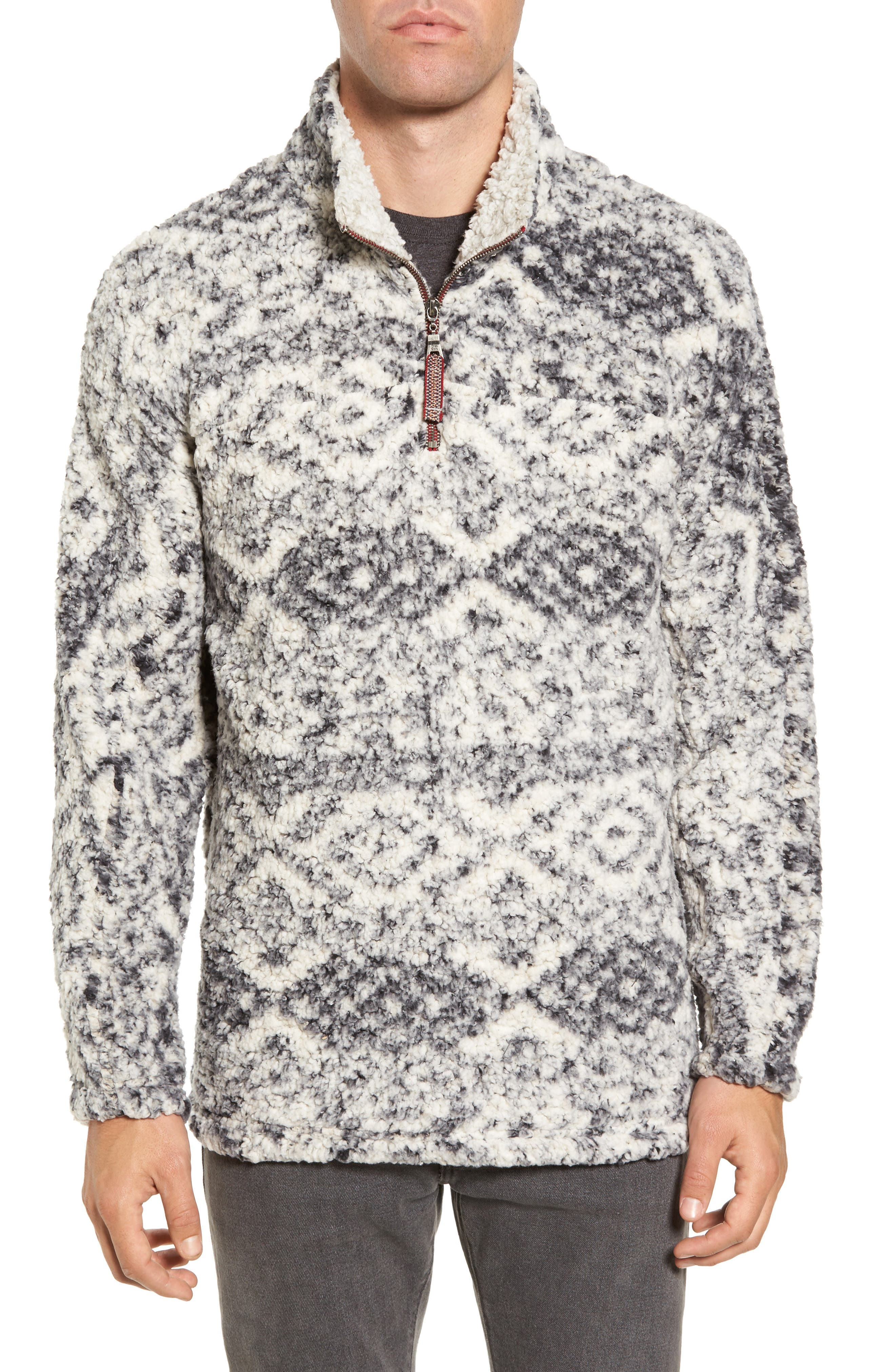 Print Frosty Tipped Quarter Zip Pullover,                         Main,                         color, Putty