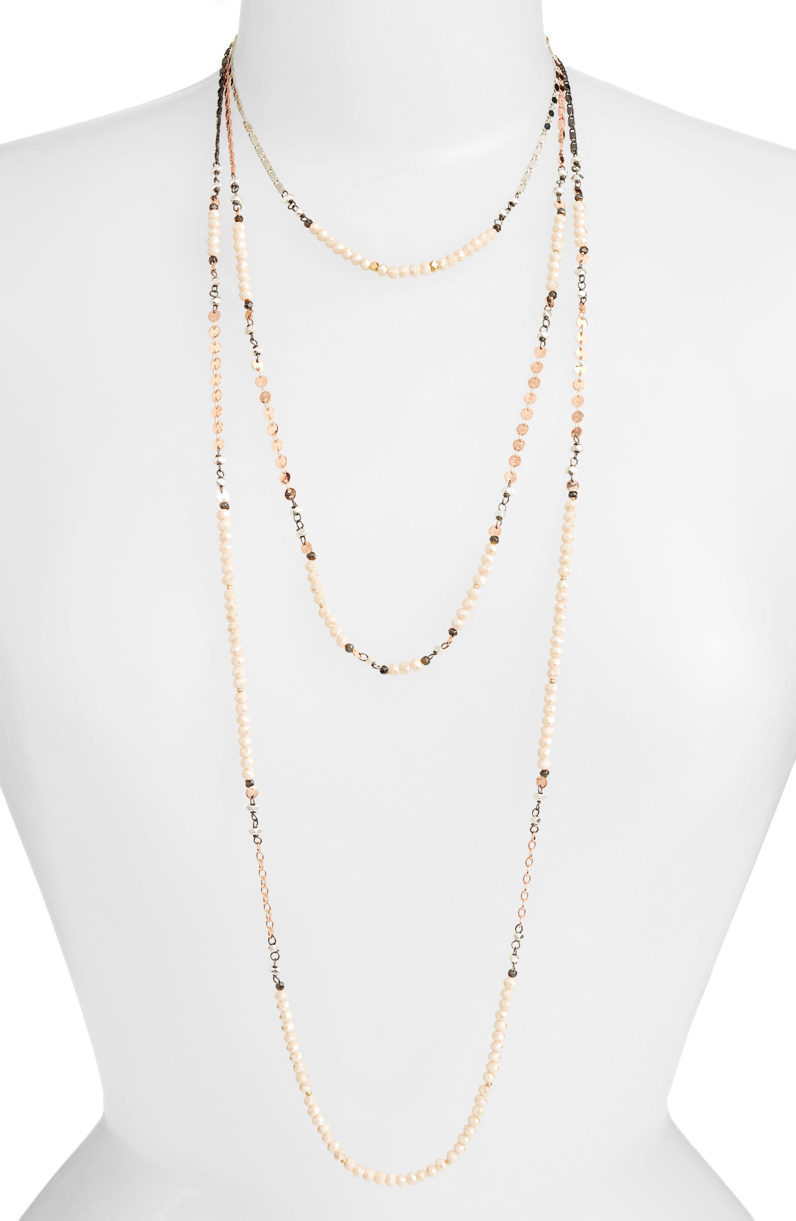 Triple Strand Necklace,                         Main,                         color, Nude
