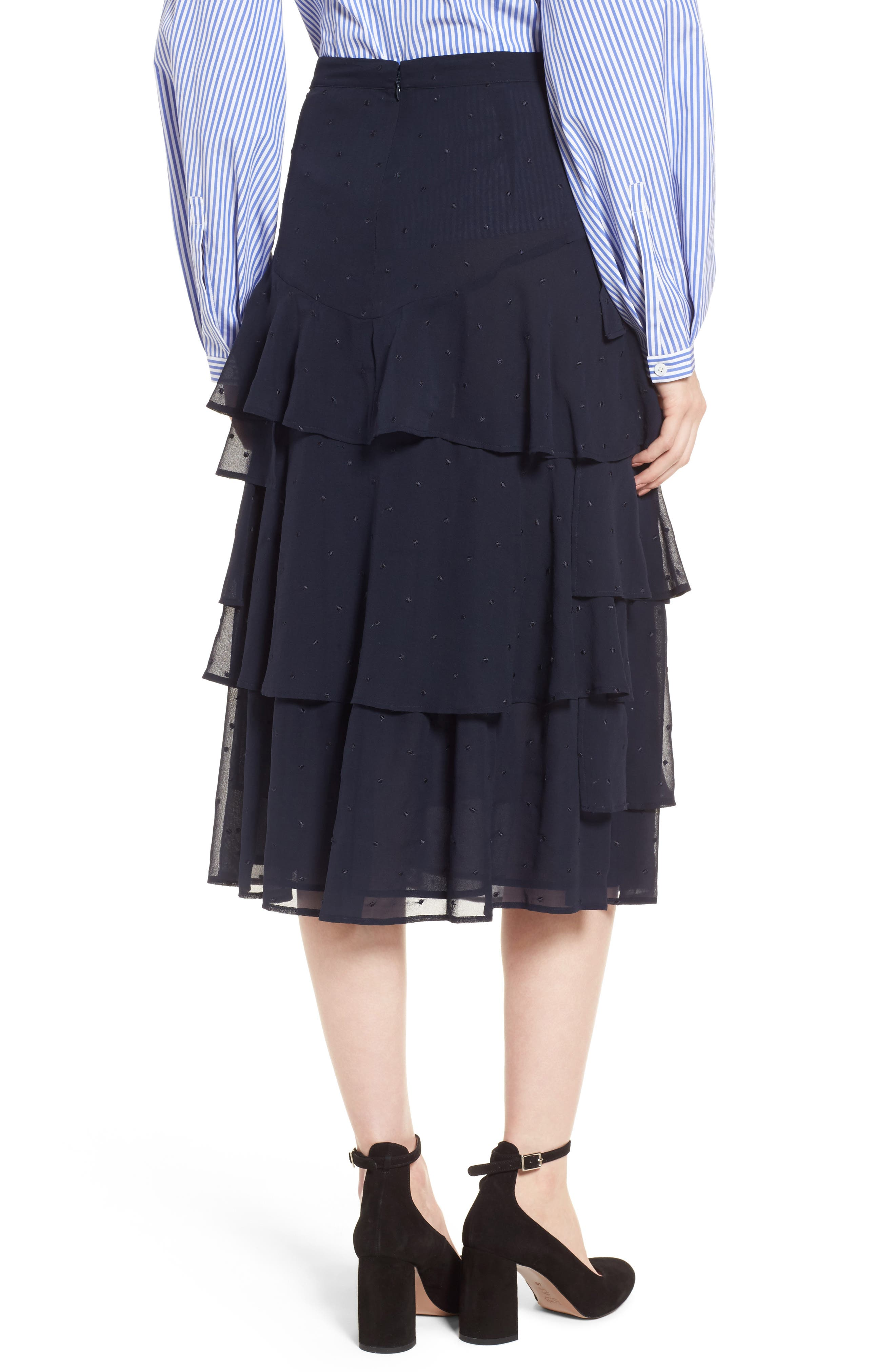 Tiered Silk Chiffon Skirt,                             Alternate thumbnail 3, color,                             Navy Night