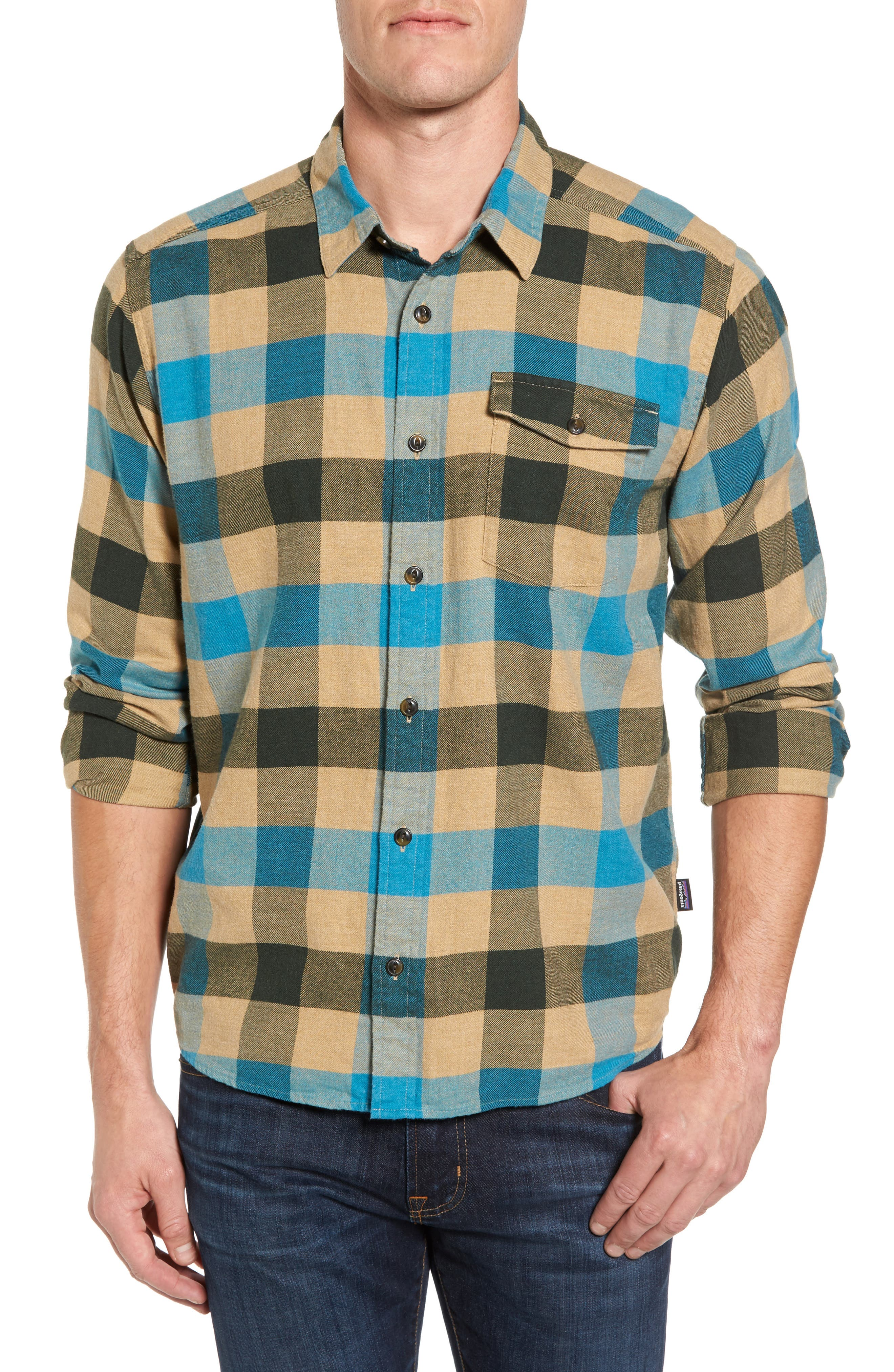 Regular Fit Organic Cotton Flannel Shirt,                         Main,                         color, Upriver Filter Blue