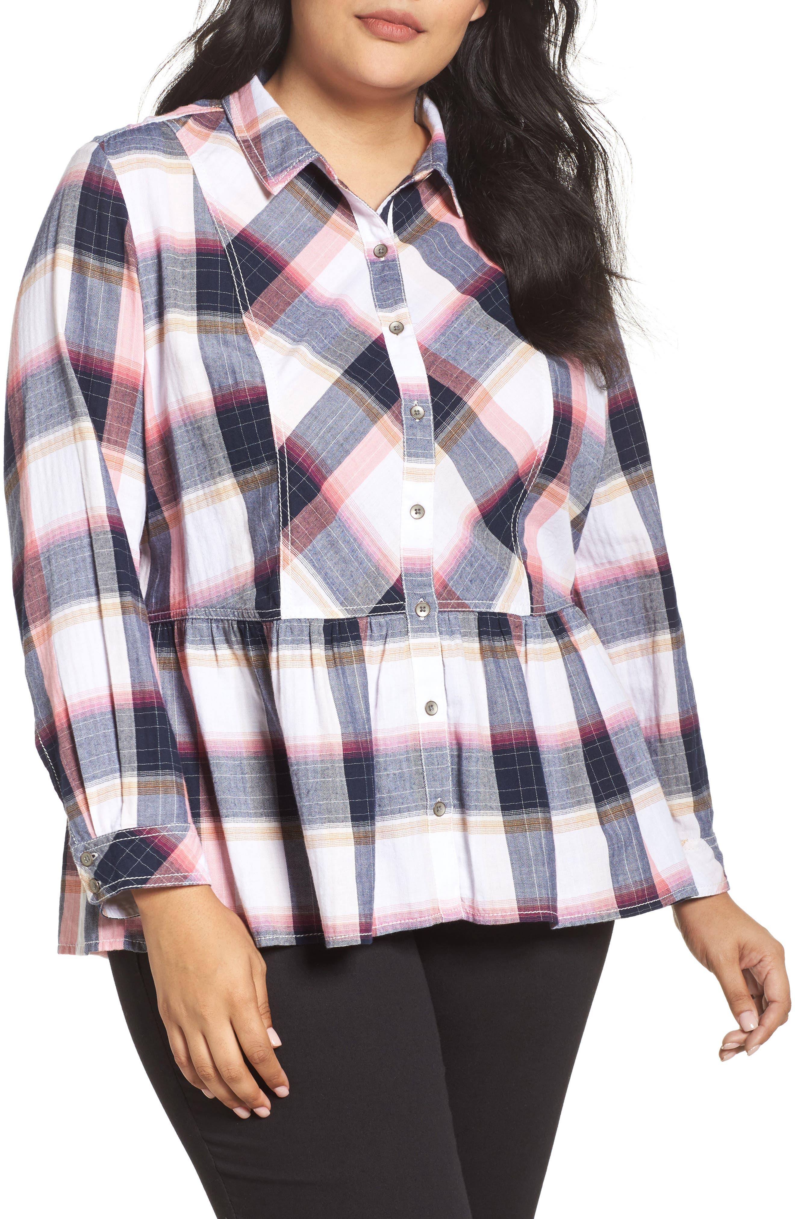 Plaid Peplum Shirt,                         Main,                         color, Navy- Rose Plaid