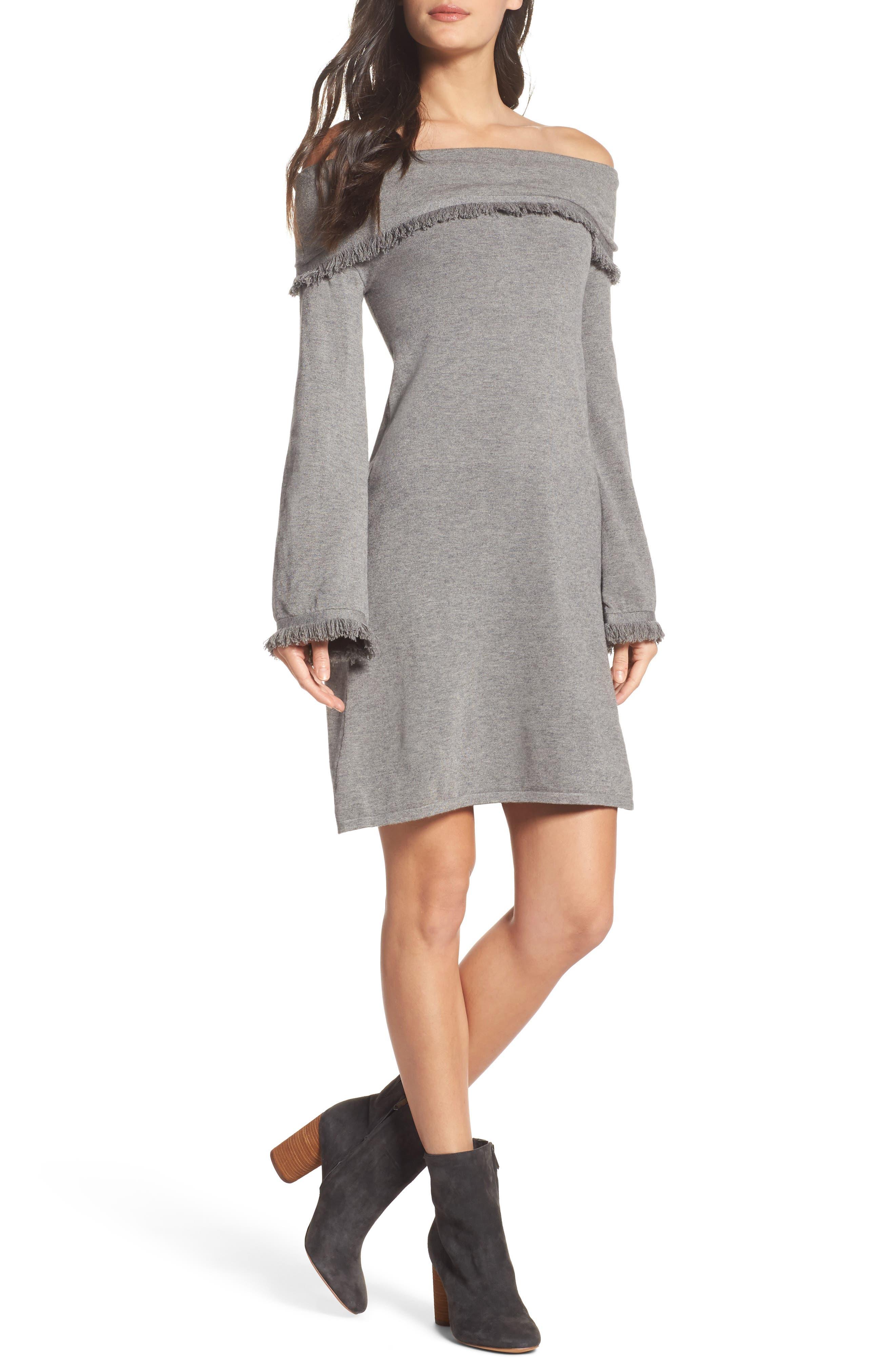 Off the Shoulder Knit Dress,                         Main,                         color, Grey