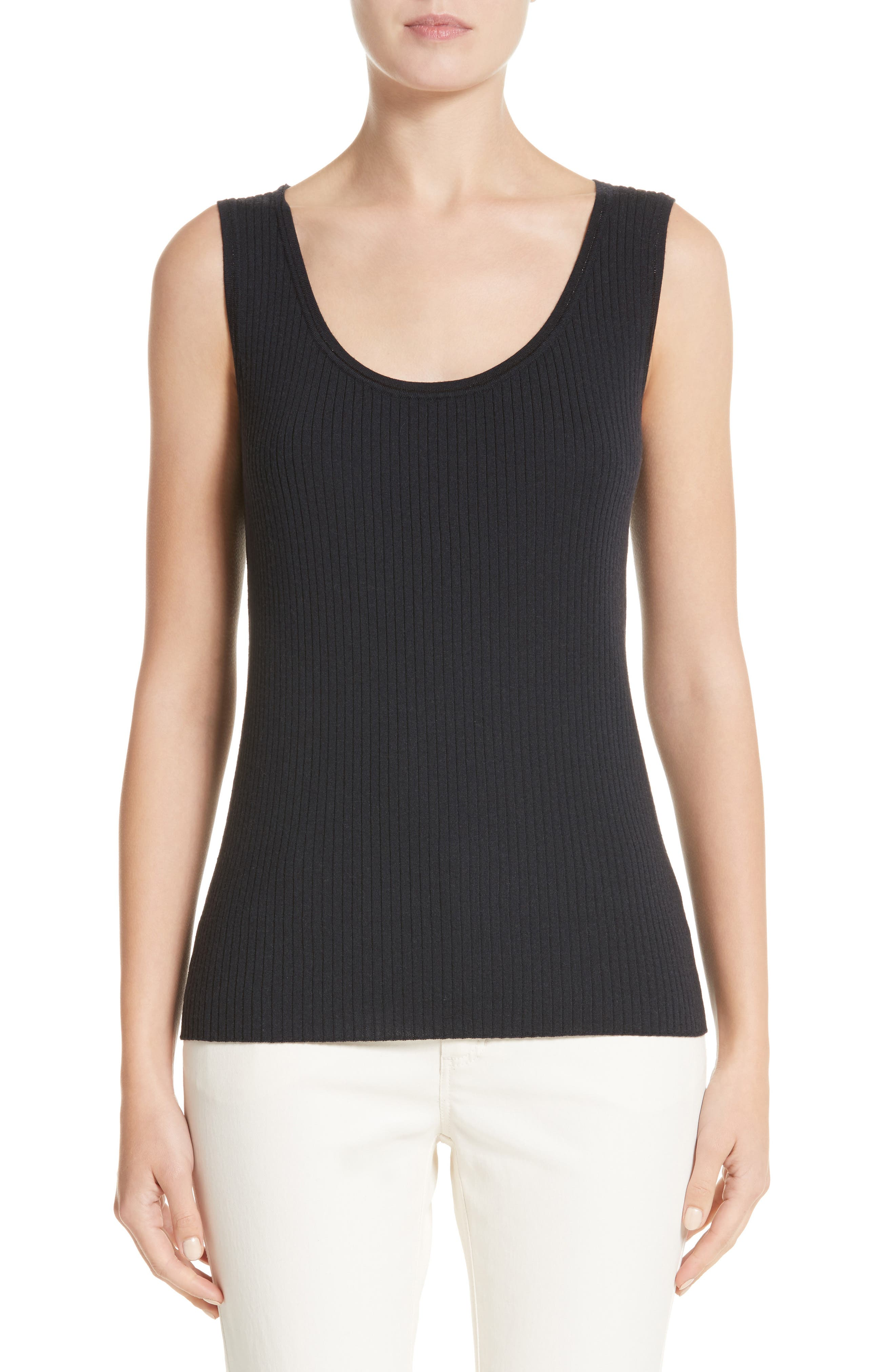 Metallic Trim Modern Ribbed Tank,                             Main thumbnail 1, color,                             Ink