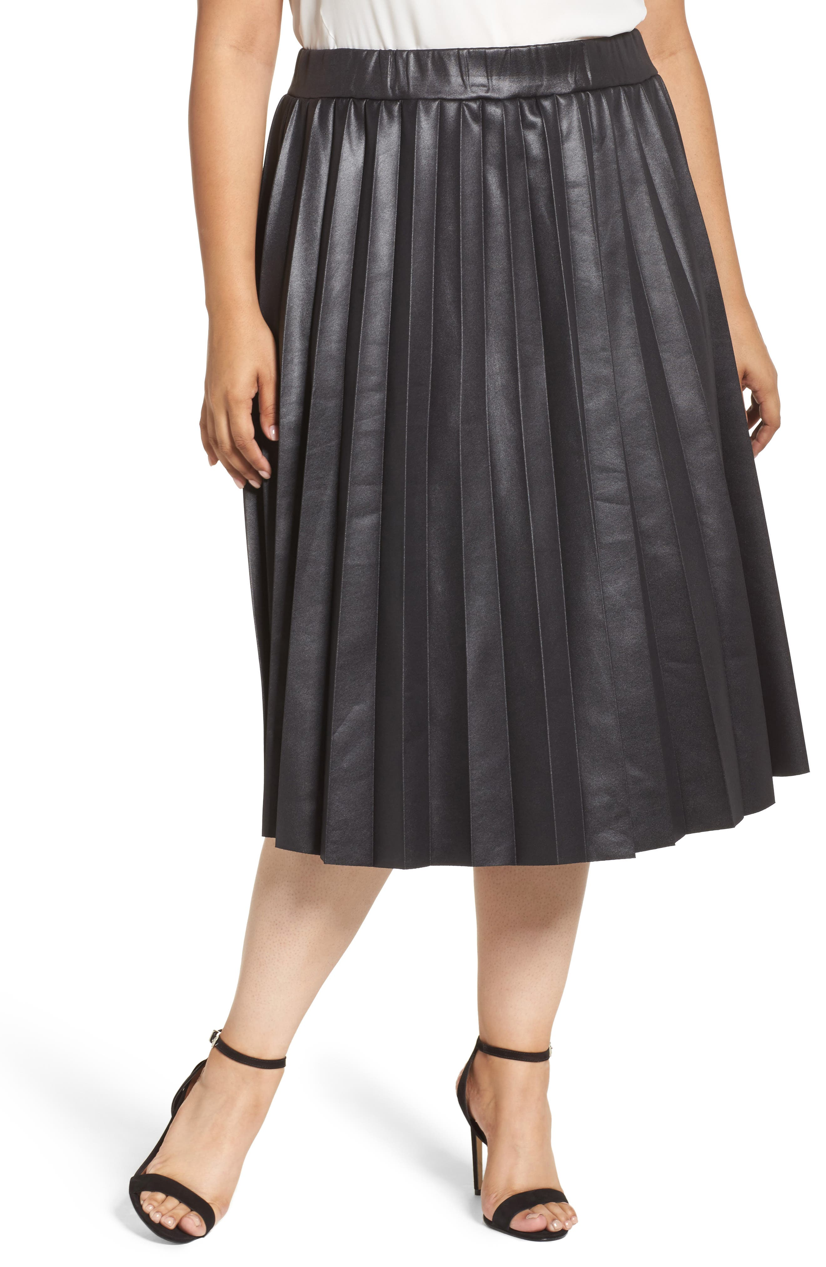 Coated Jersey Pleated Skirt,                         Main,                         color, Black
