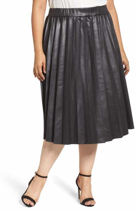 LOST INK Coated Jersey Pleated Skirt (Plus Size)