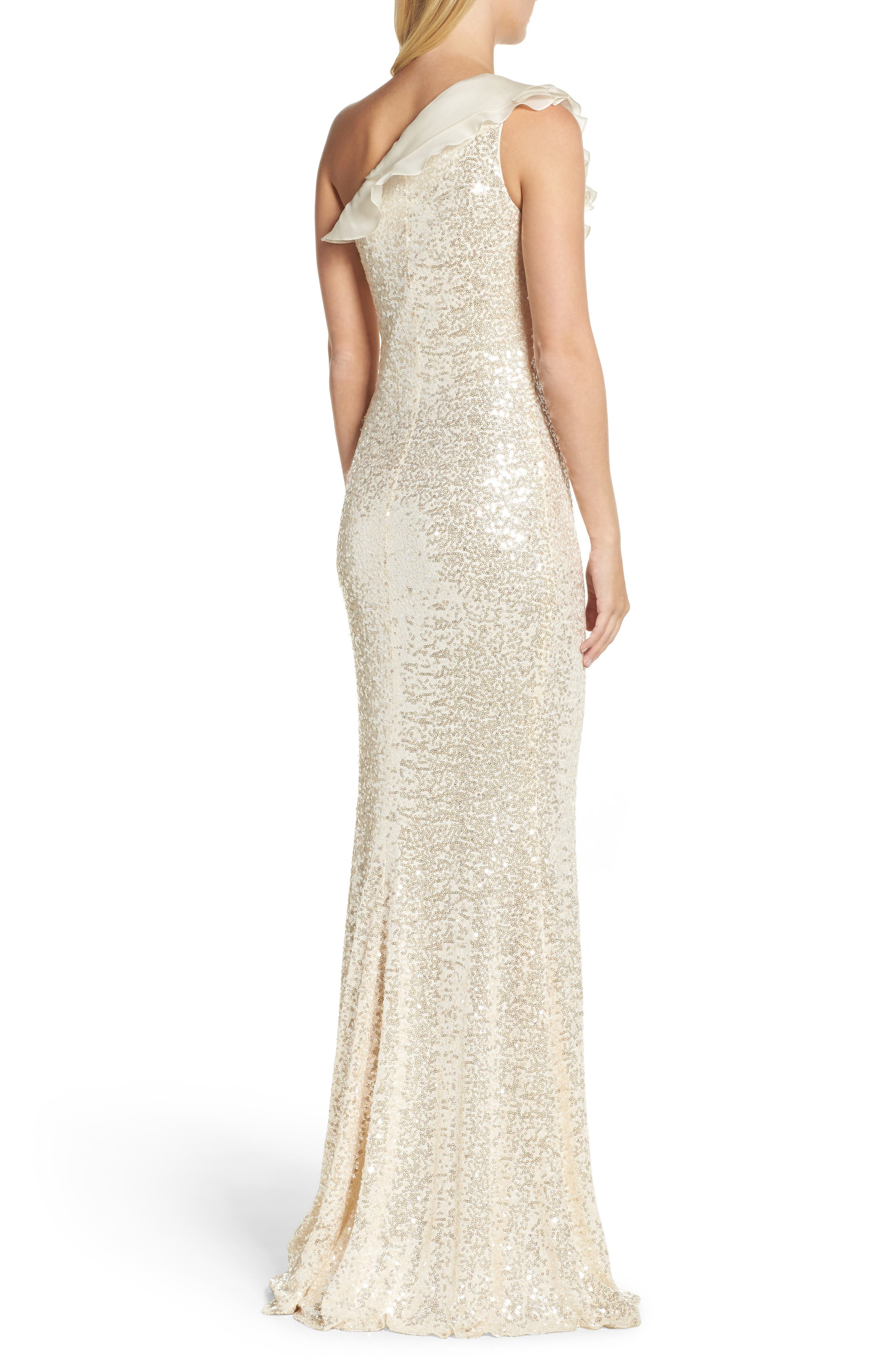 Ruffle Sequin One-Shoulder Gown,                             Alternate thumbnail 2, color,                             Champagne