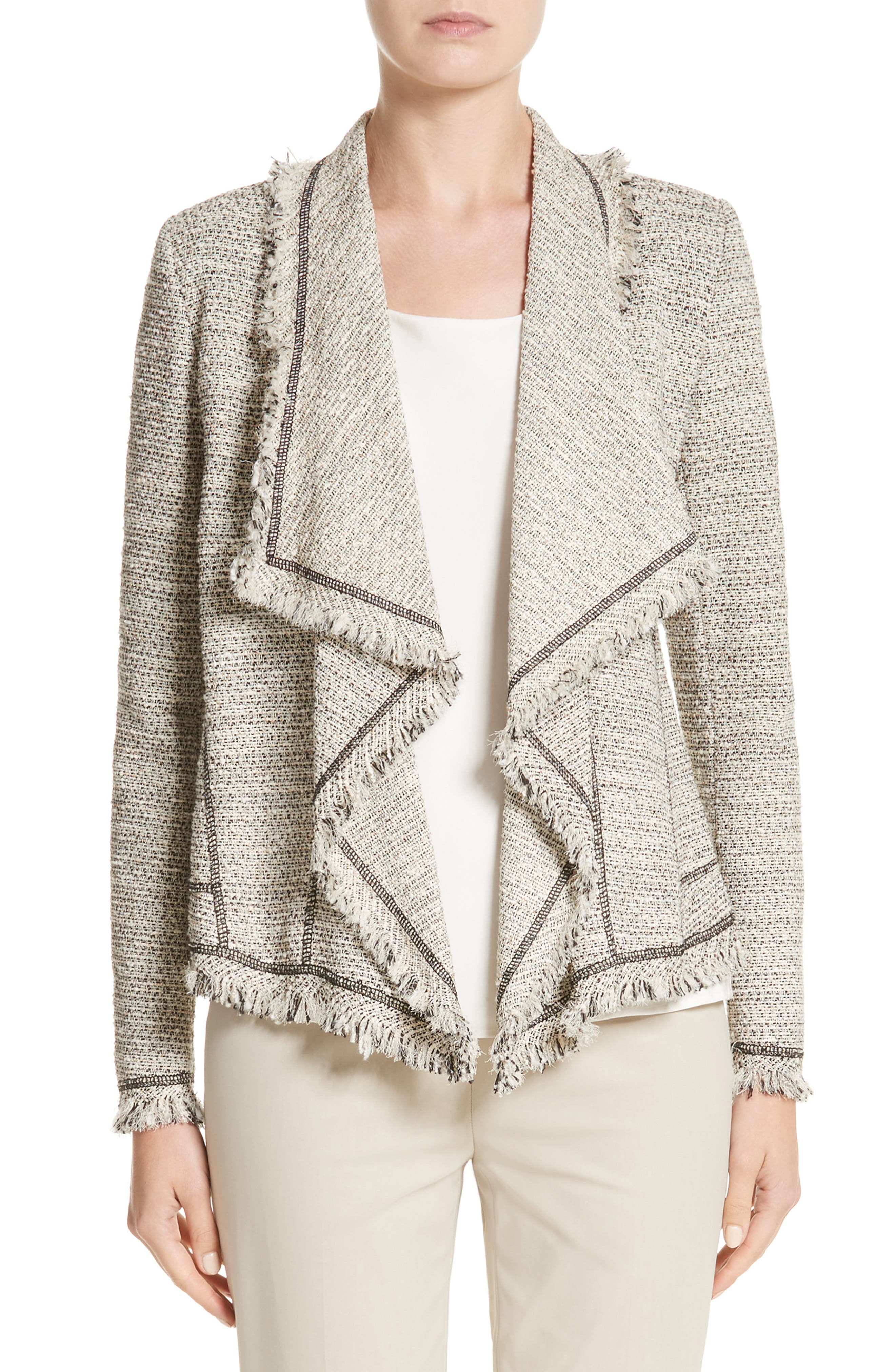 Eugena Drape Tweed Jacket,                         Main,                         color, Raffia Multi