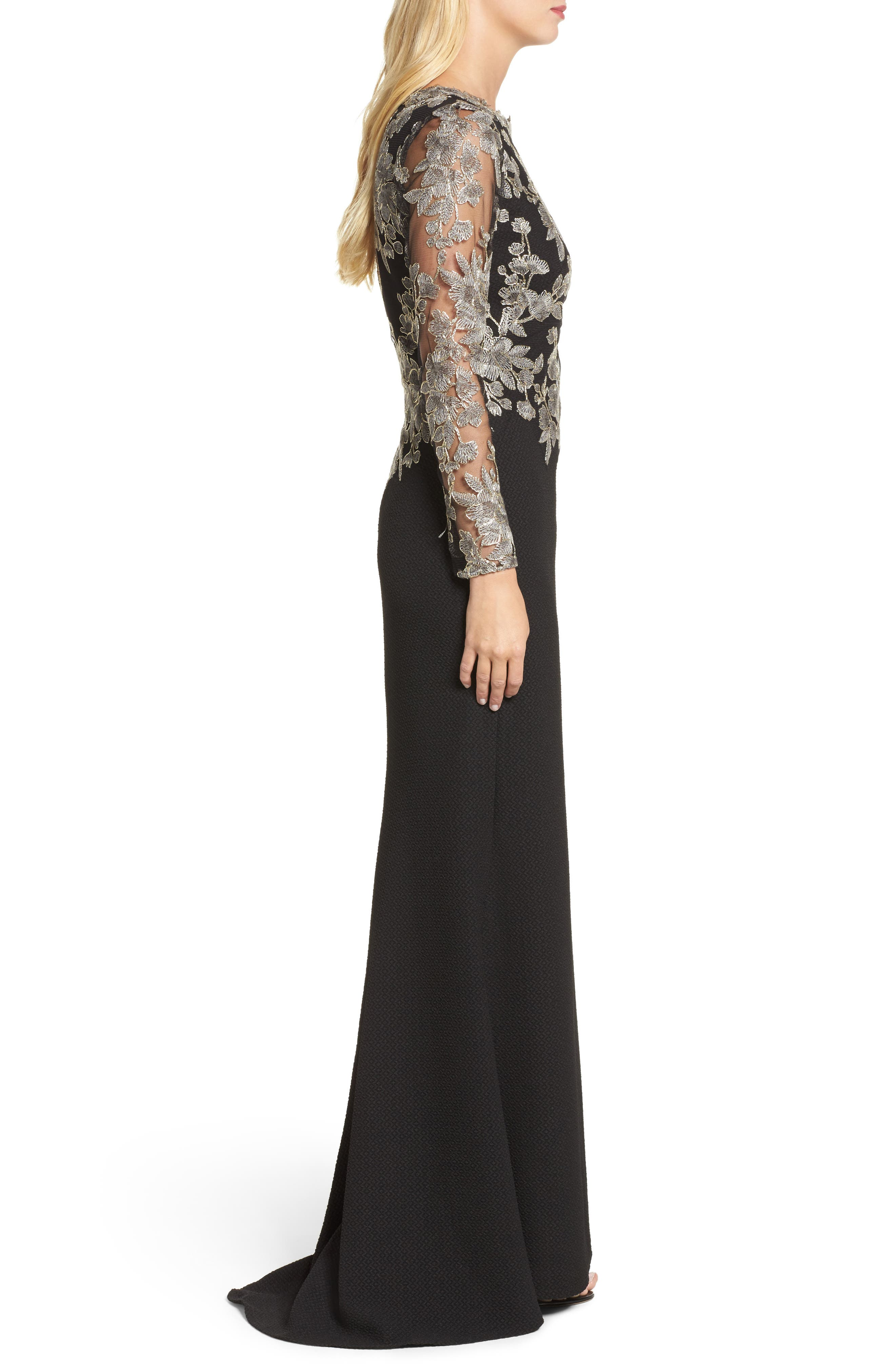 Embroidered Crepe Gown,                             Alternate thumbnail 3, color,                             Smoke Pearl/ Black