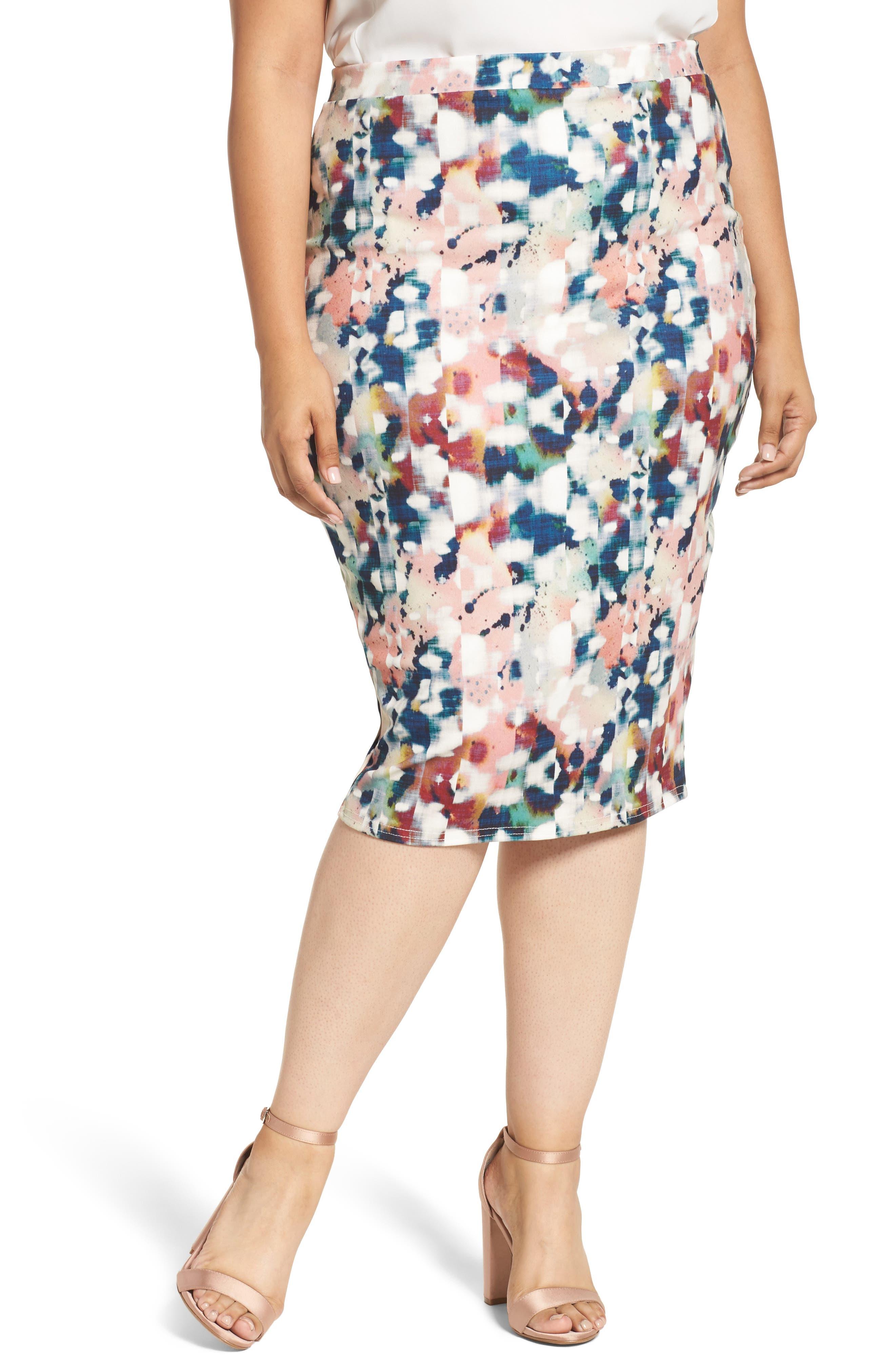 Abstract Print Pencil Skirt,                         Main,                         color, Multi