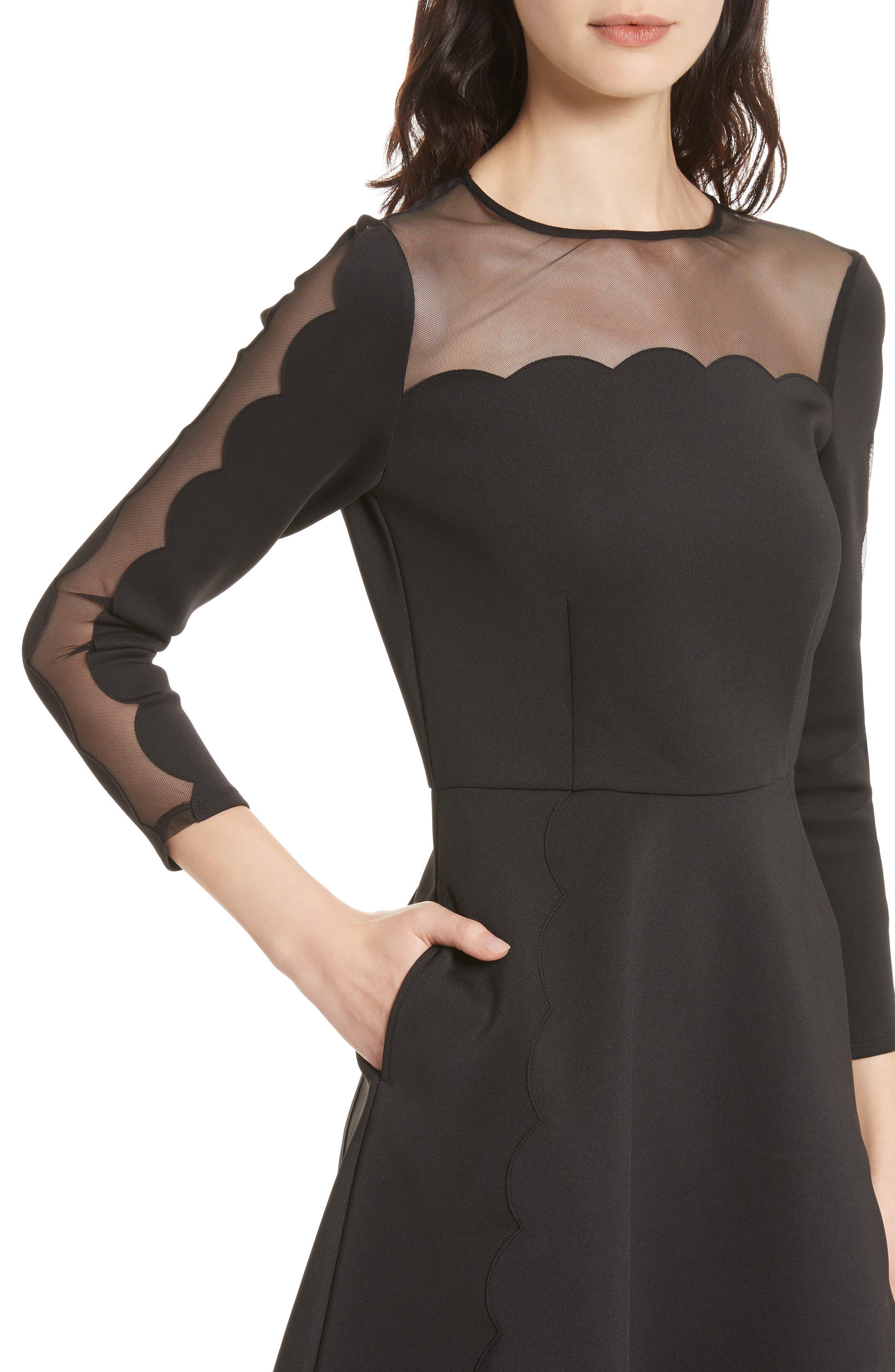 Kikoh Mesh Panel Skater Dress,                             Alternate thumbnail 4, color,                             Black