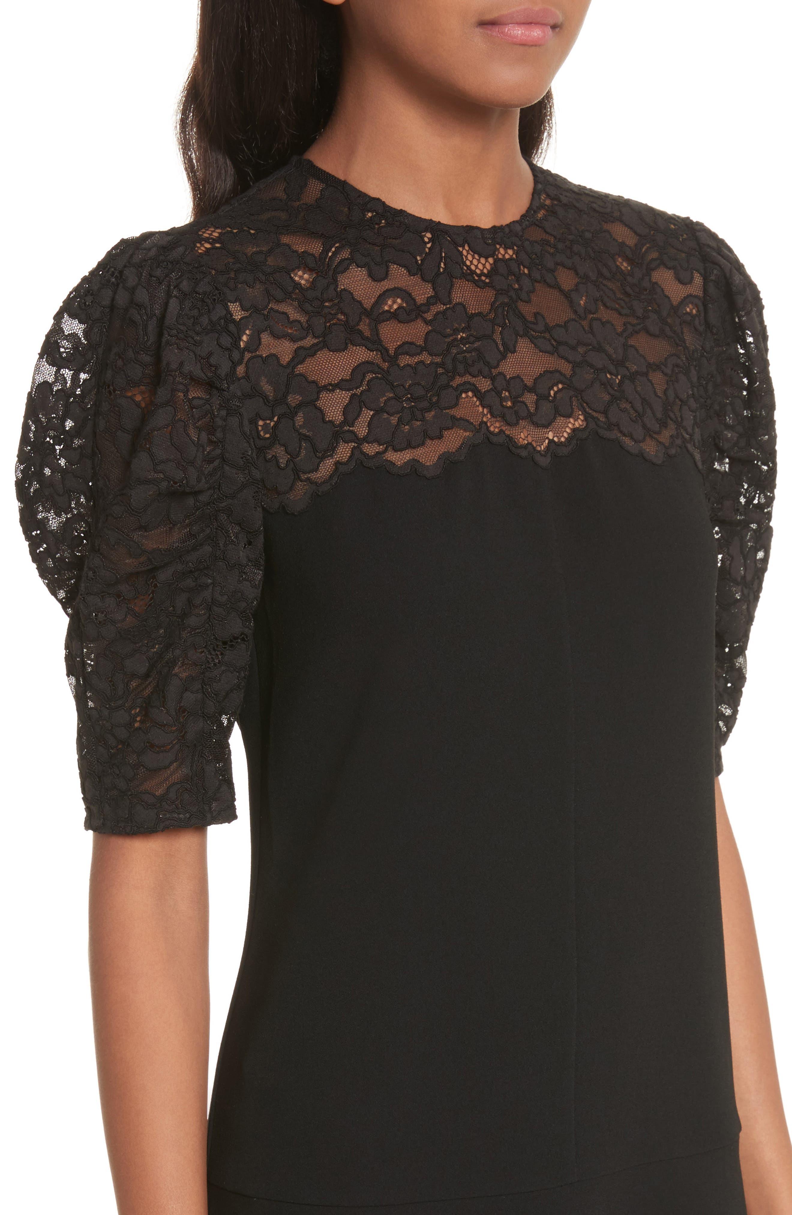 Lace & Crepe A-Line Dress,                             Alternate thumbnail 4, color,                             Black