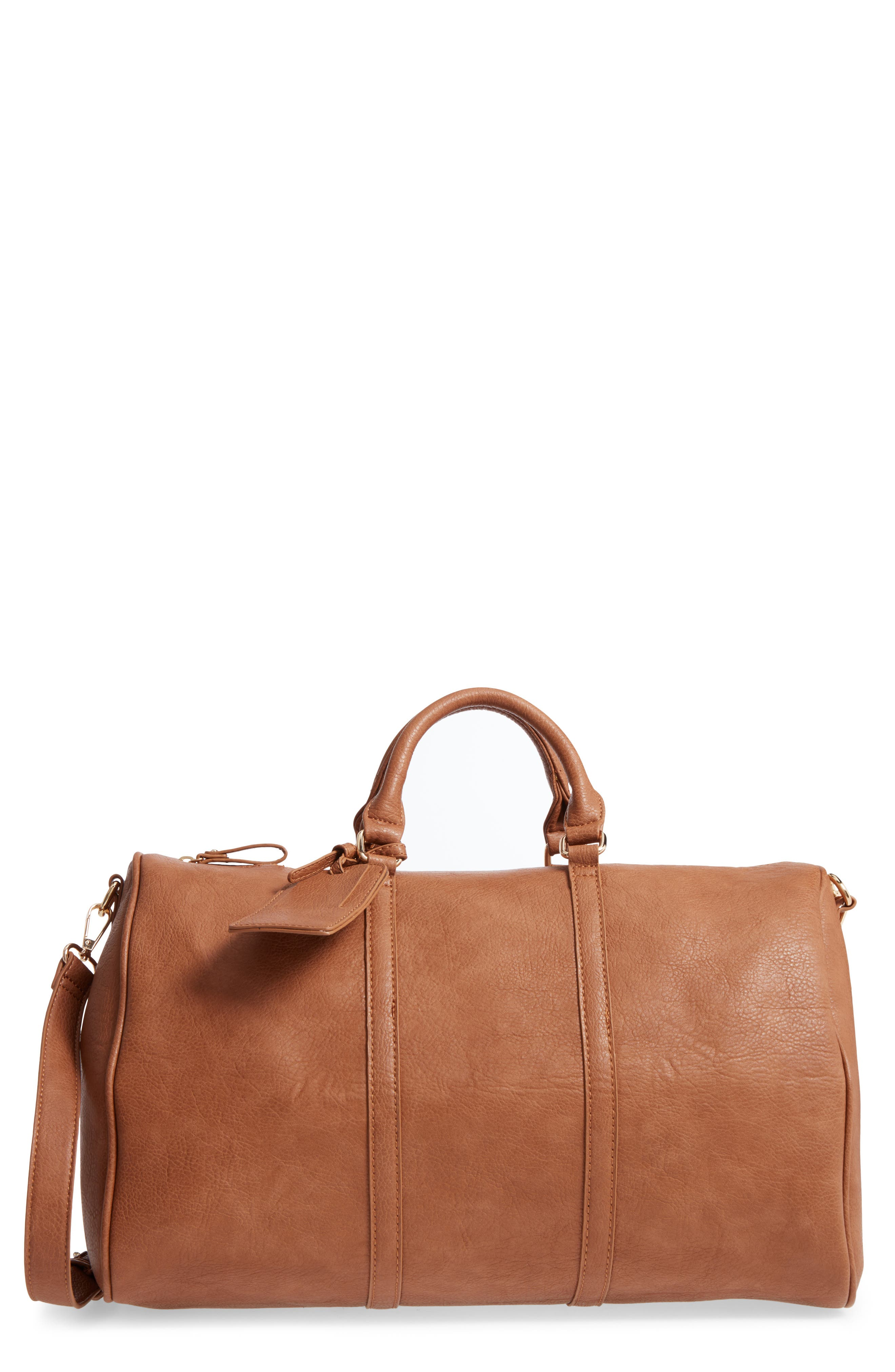 Main Image - Sole Society 'Cassidy' Faux Leather Duffel Bag