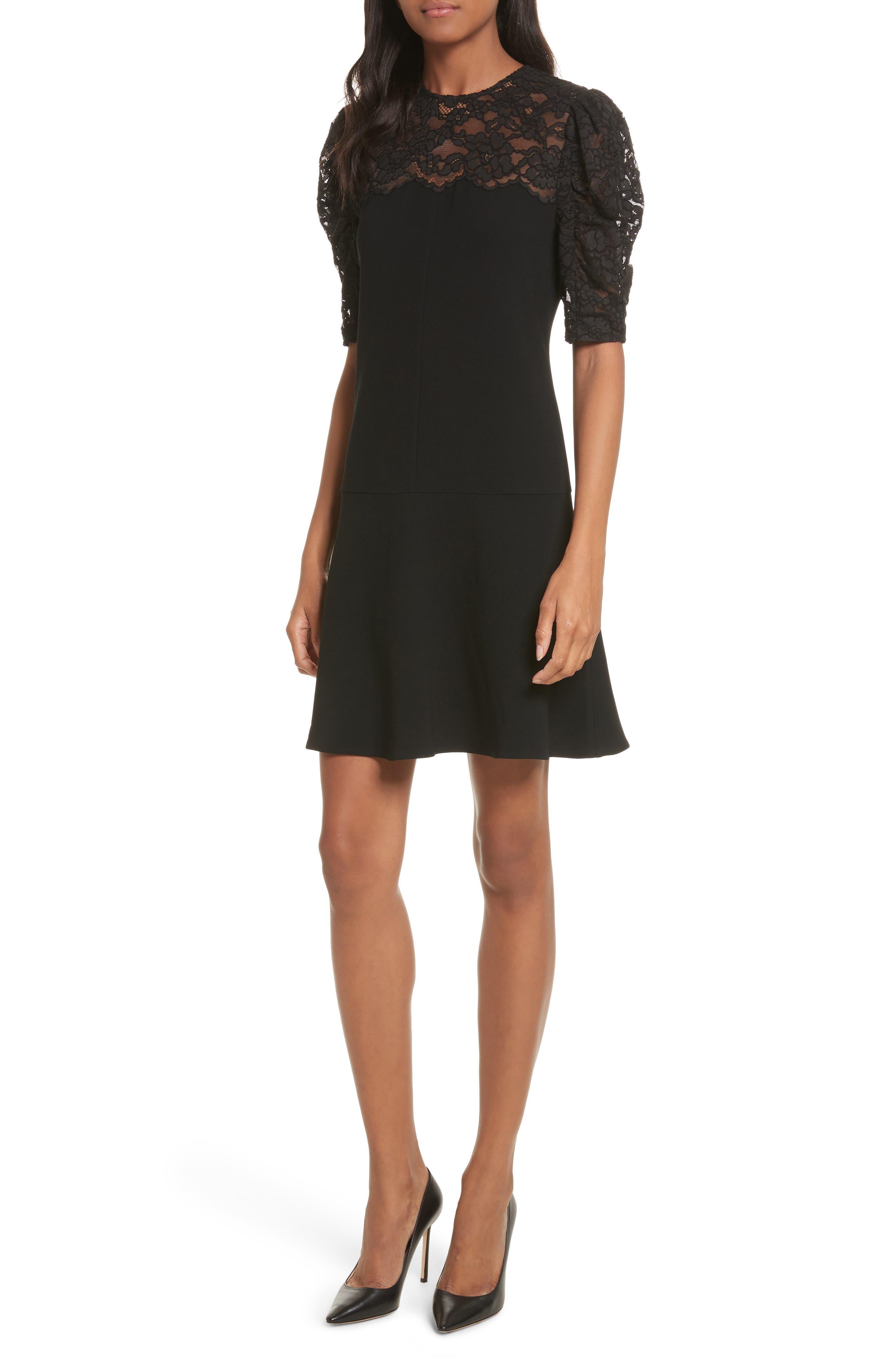 Lace & Crepe A-Line Dress,                         Main,                         color, Black