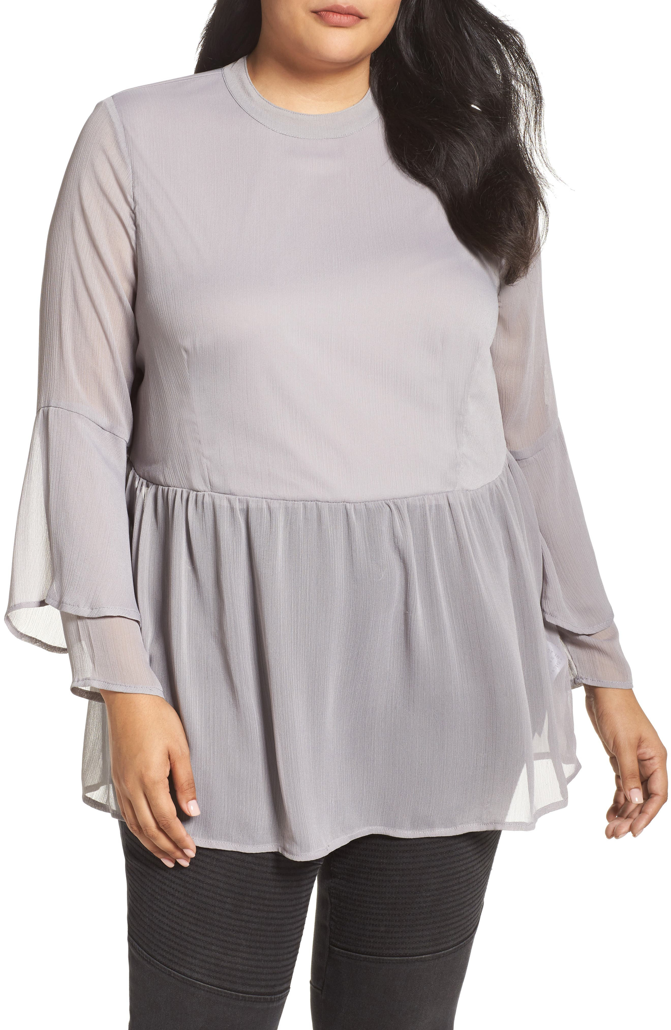 Crinkled Chiffon Top,                         Main,                         color, Grey