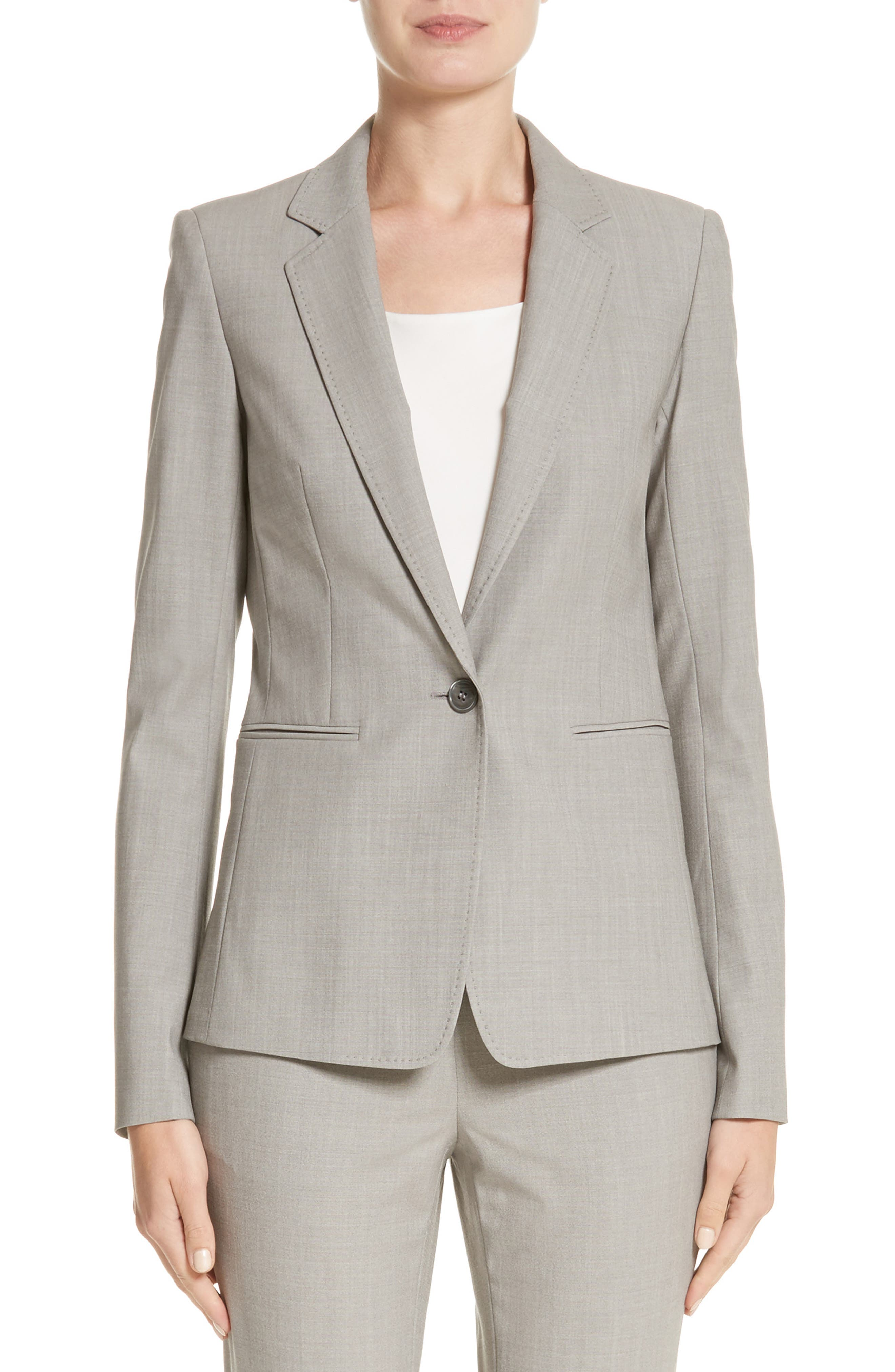 Lyndon Stretch Wool Blazer,                         Main,                         color, Feather Grey Melange