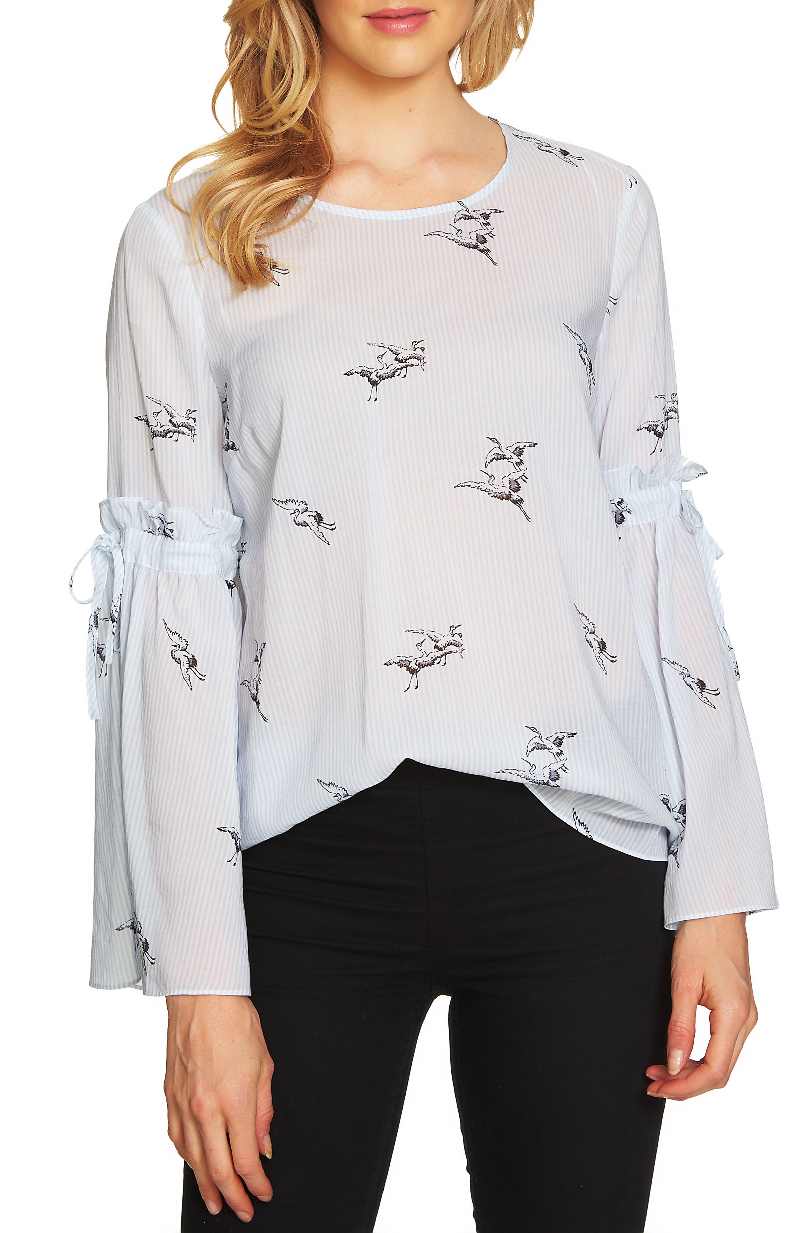 CeCe Bell Sleeve Bird Stripe Blouse