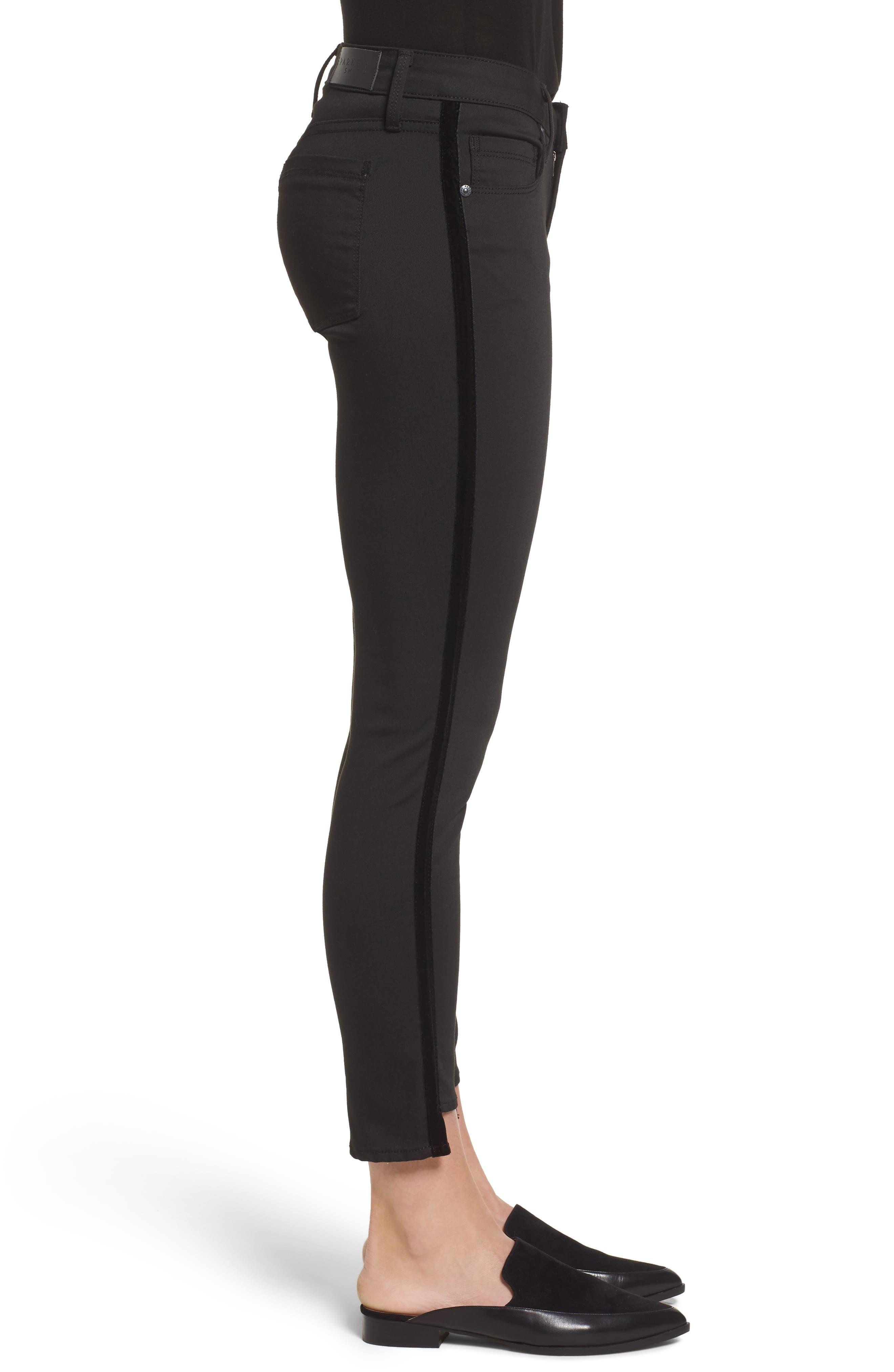 Twisted Tuxedo Crop Skinny Jeans,                             Alternate thumbnail 3, color,                             Eternal Black