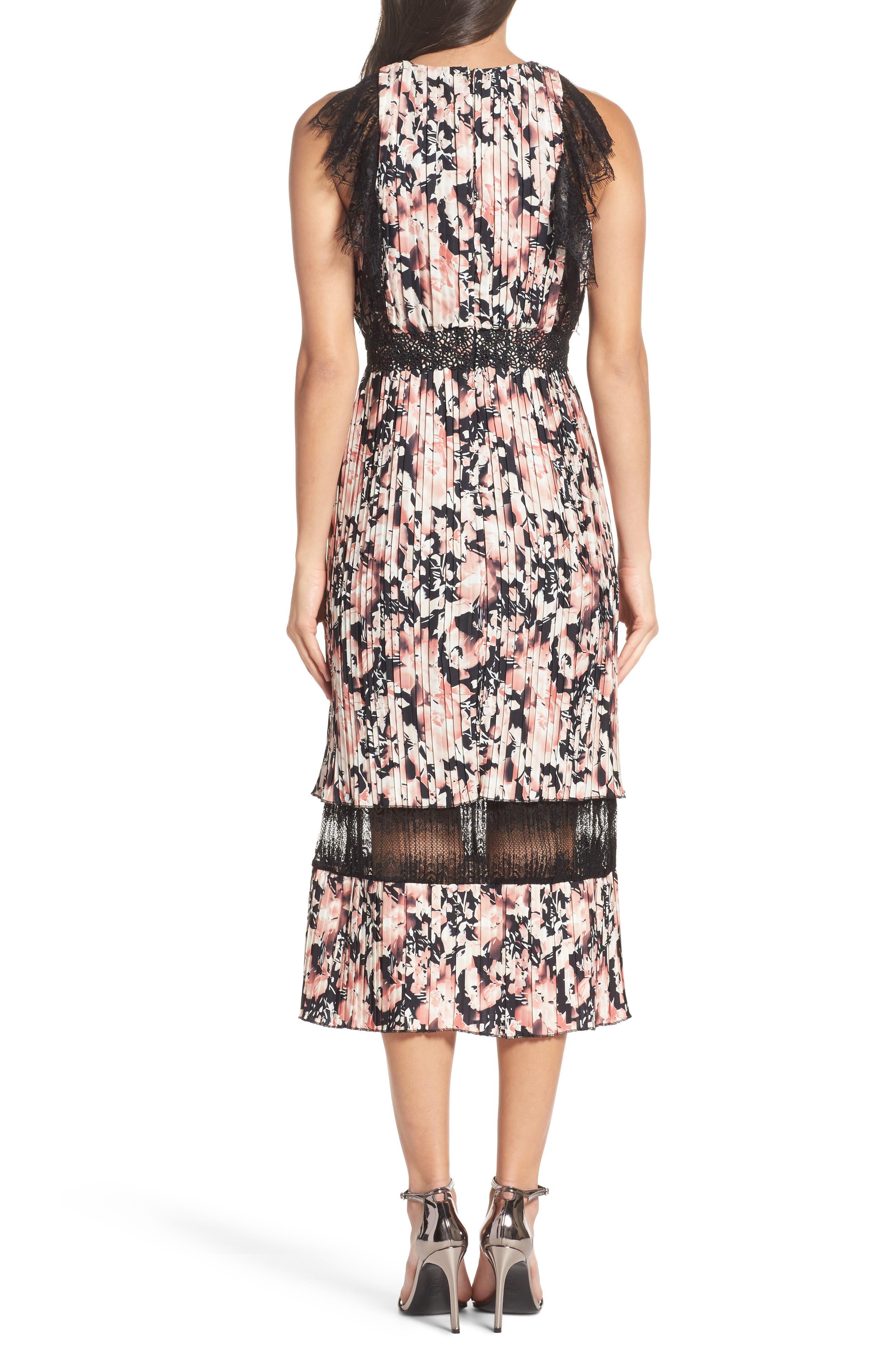 Alternate Image 2  - Foxiedox Jasmine Lace Trim Pleated Floral Midi Dress
