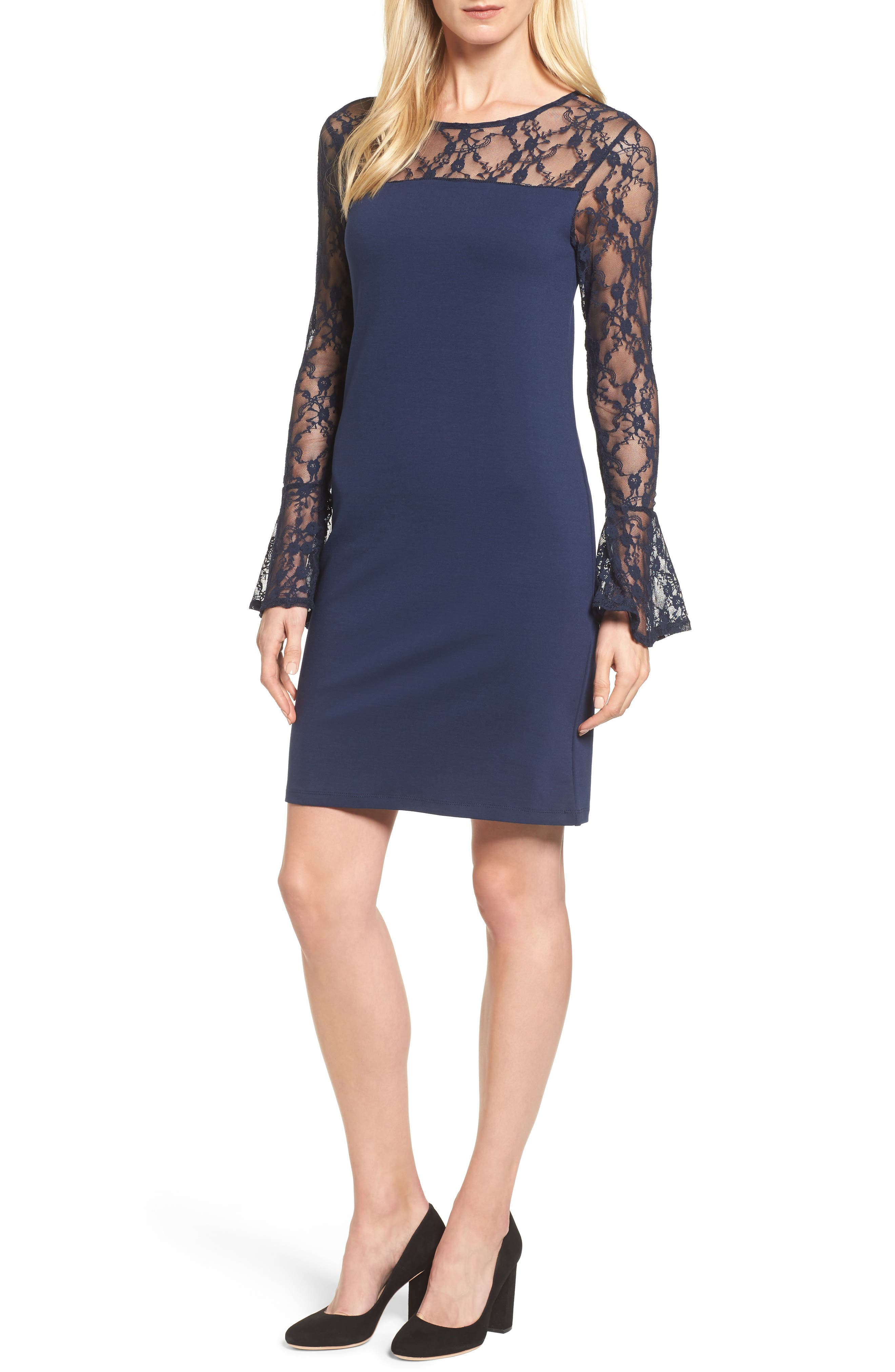 Bobeau Flared Cuff Lace Sleeve Dress (Regular & Petite)