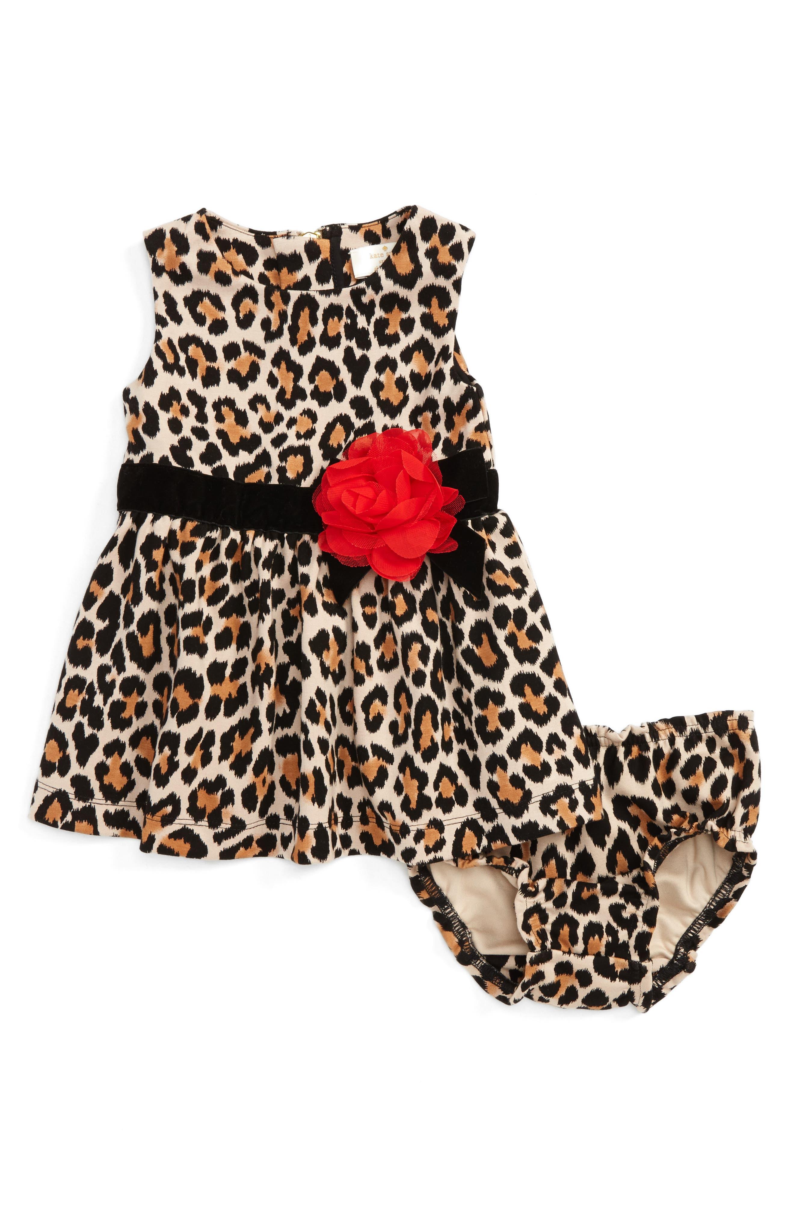 Main Image - kate spade new york leopard print sleeveless dress (Baby Girls)