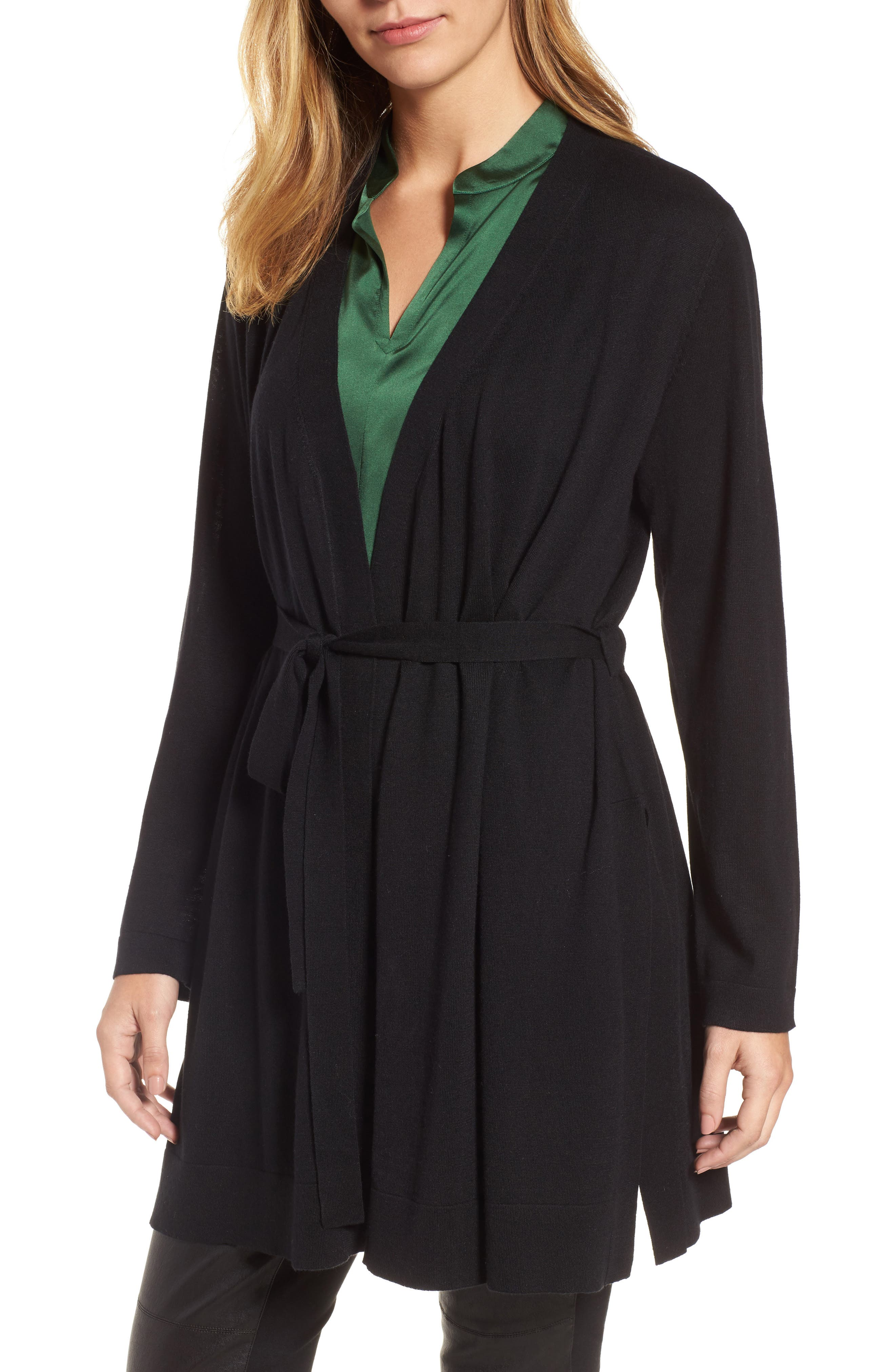 Tie Waist Tencel<sup>®</sup> Lyocell Blend Cardigan,                             Main thumbnail 1, color,                             Black
