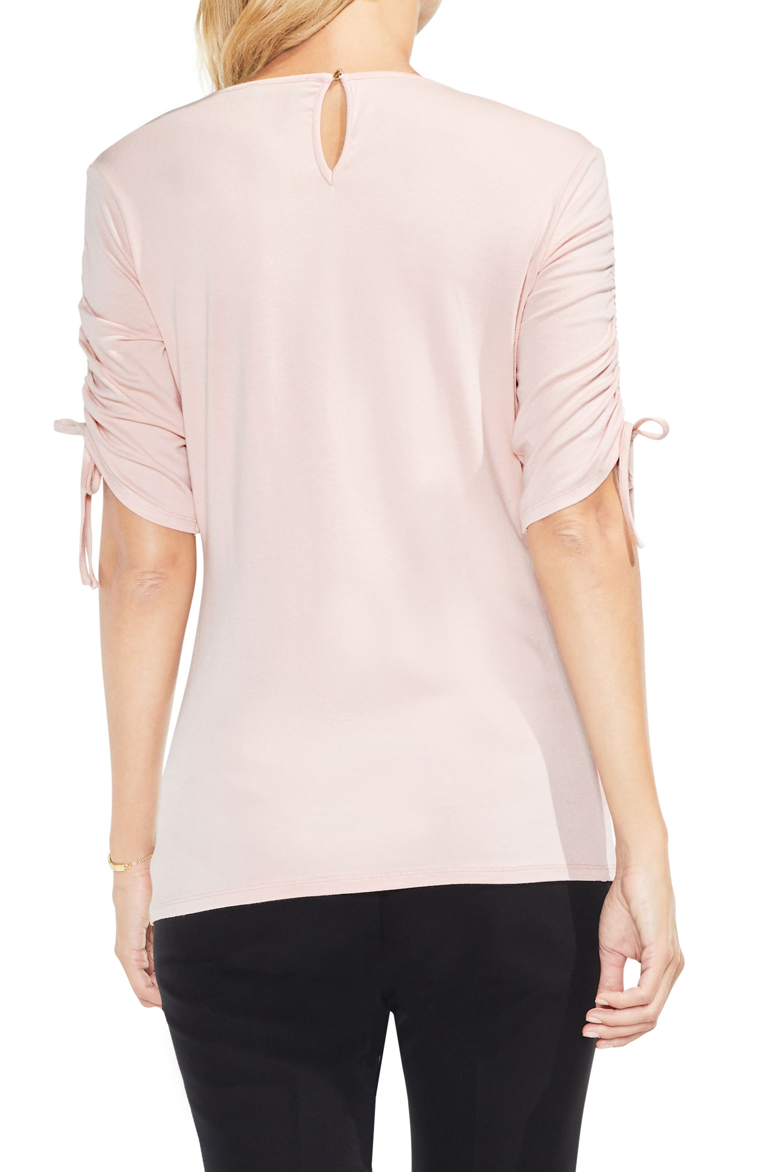 Alternate Image 2  - Vince Camuto Ruched Elbow Sleeve Top (Regular & Petite)