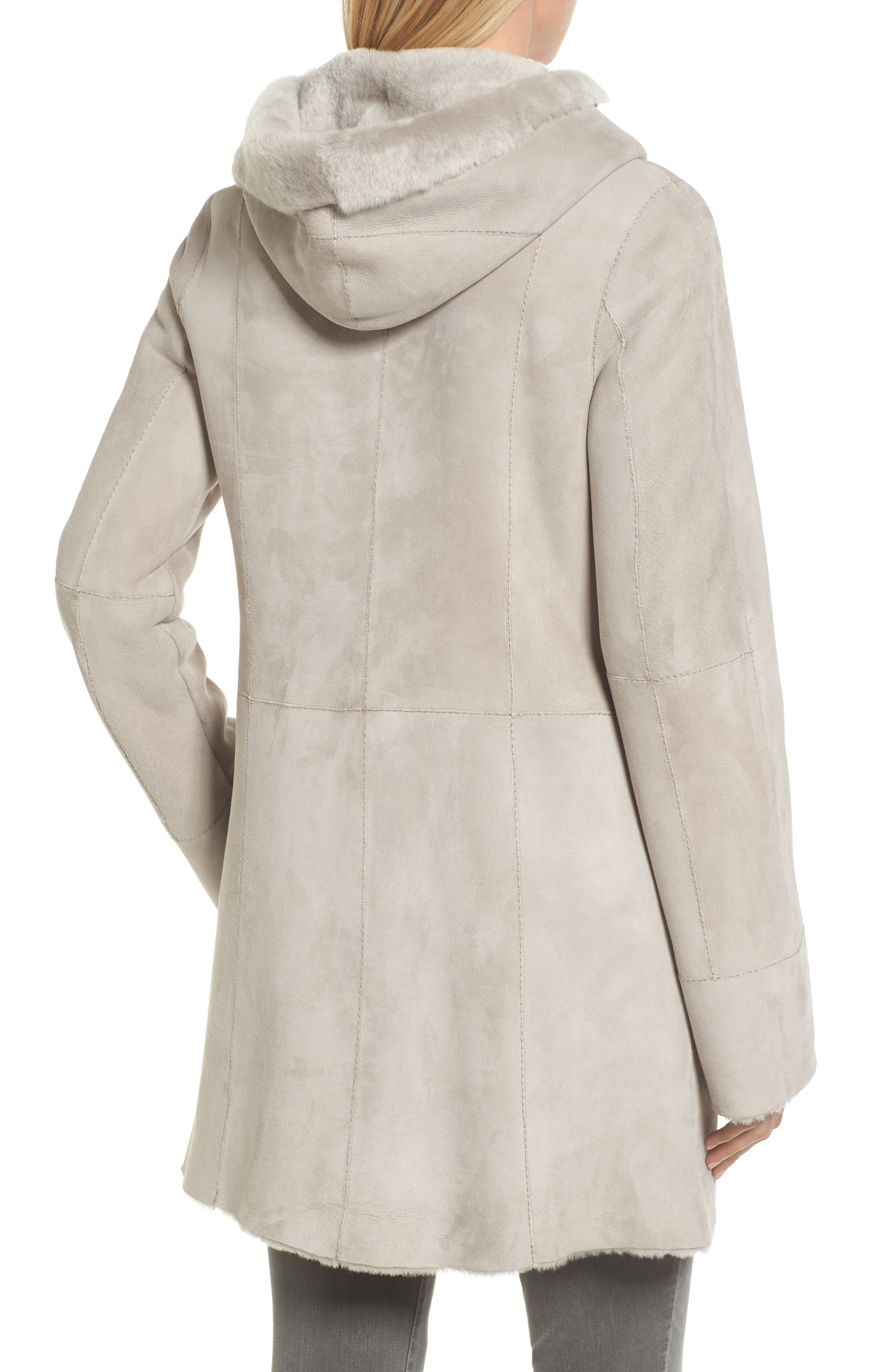 Patch Genuine Shearling Coat,                             Alternate thumbnail 2, color,                             Light Grey