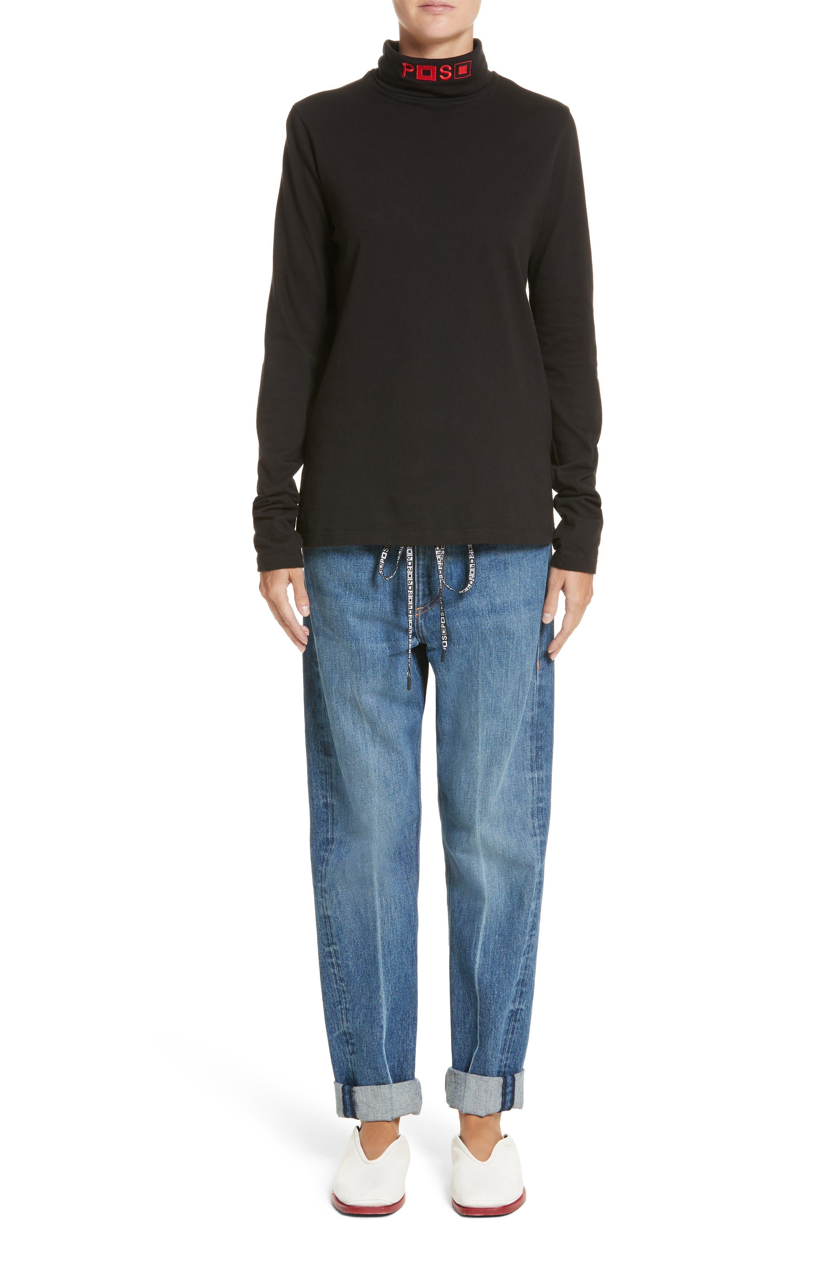 PSWL Cuffed Straight Leg Jeans,                             Alternate thumbnail 9, color,                             Medium Blue