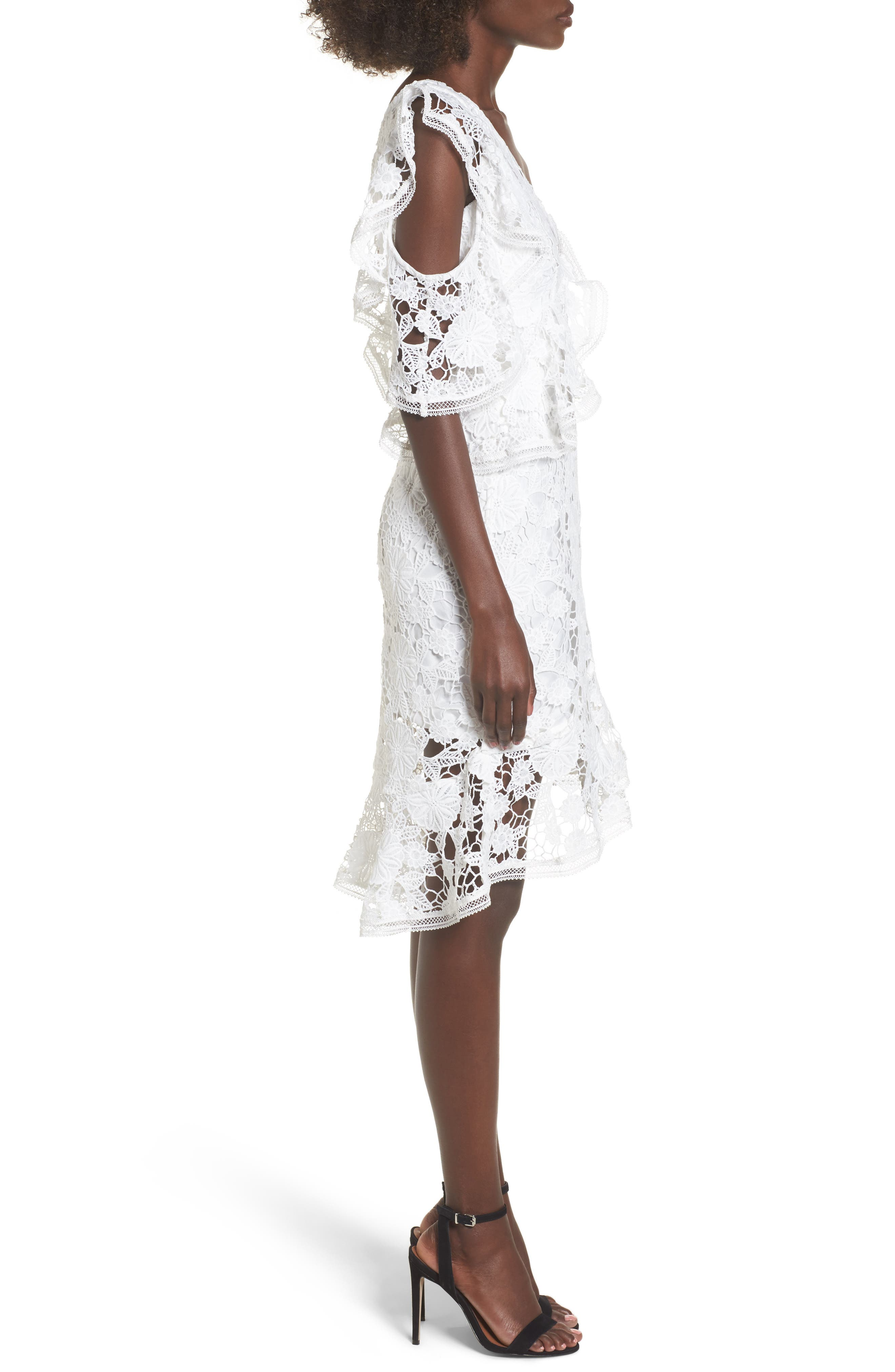 Frameless Lace Sheath Dress,                             Alternate thumbnail 4, color,                             Ivory