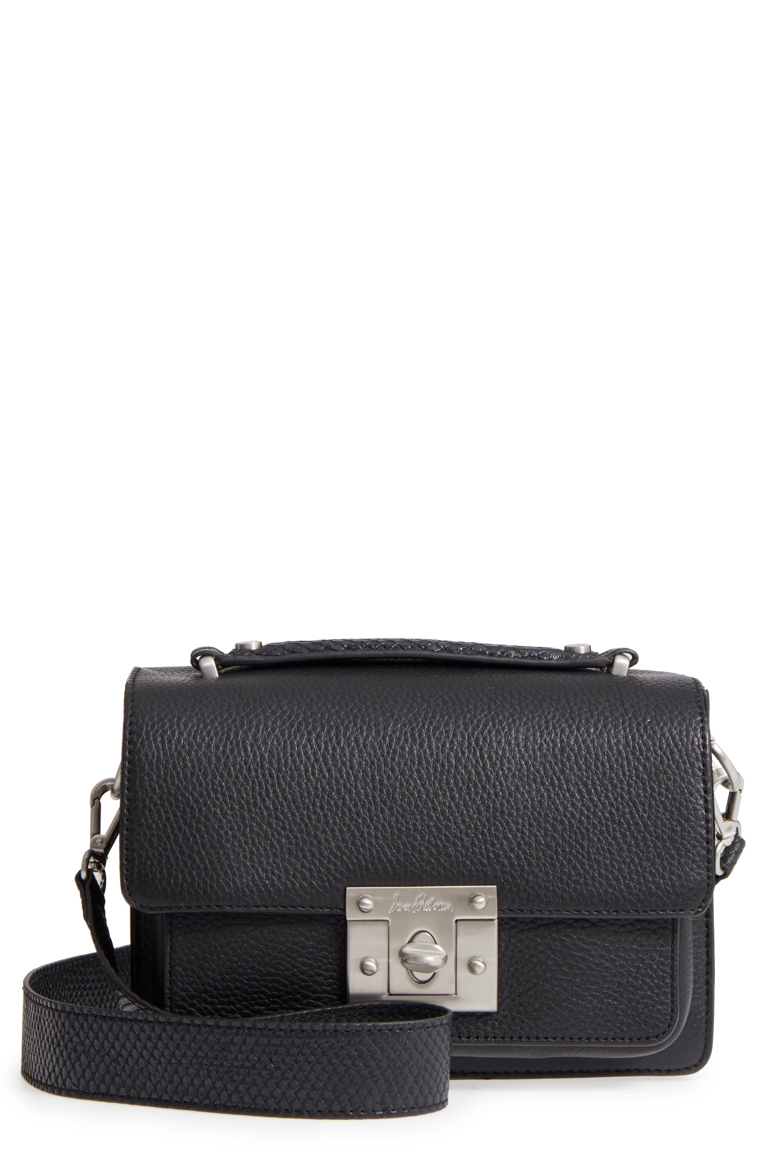 Gessica Leather Shoulder Bag,                             Main thumbnail 1, color,                             Black
