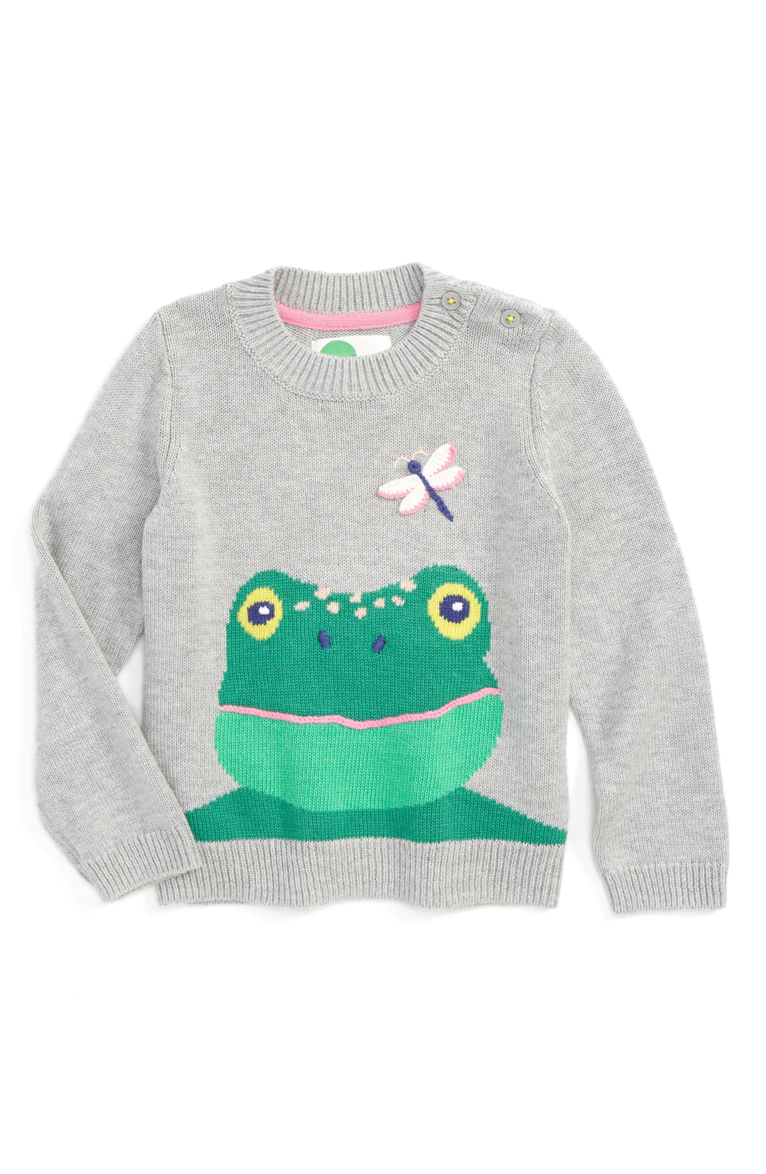 Fun Embroidered Sweater,                             Main thumbnail 1, color,                             Grey Frog