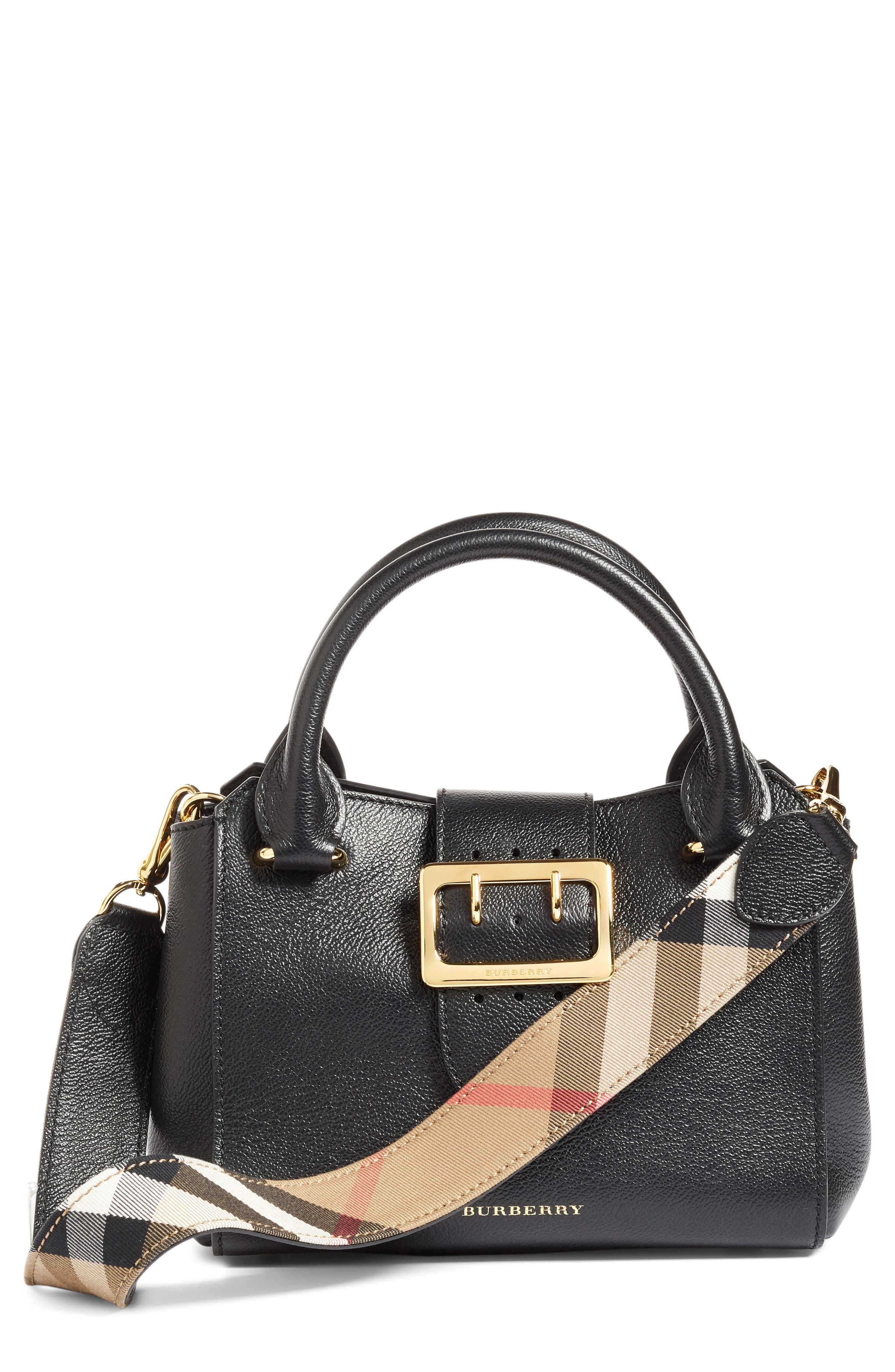 Small Buckle Leather Satchel,                         Main,                         color, Black