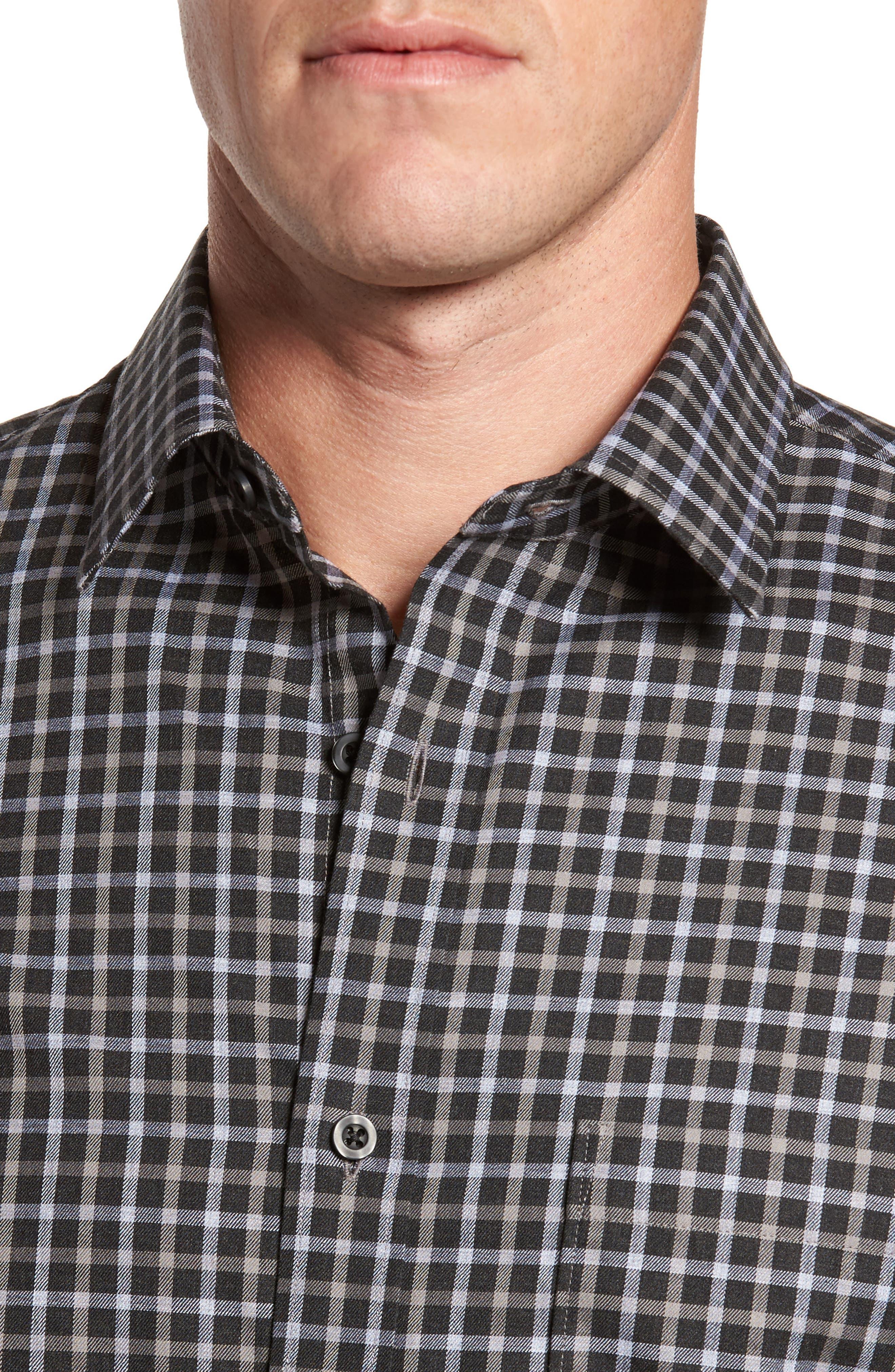 Regular Fit Non-Iron Check Sport Shirt,                             Alternate thumbnail 4, color,                             Black Caviar Grey Check