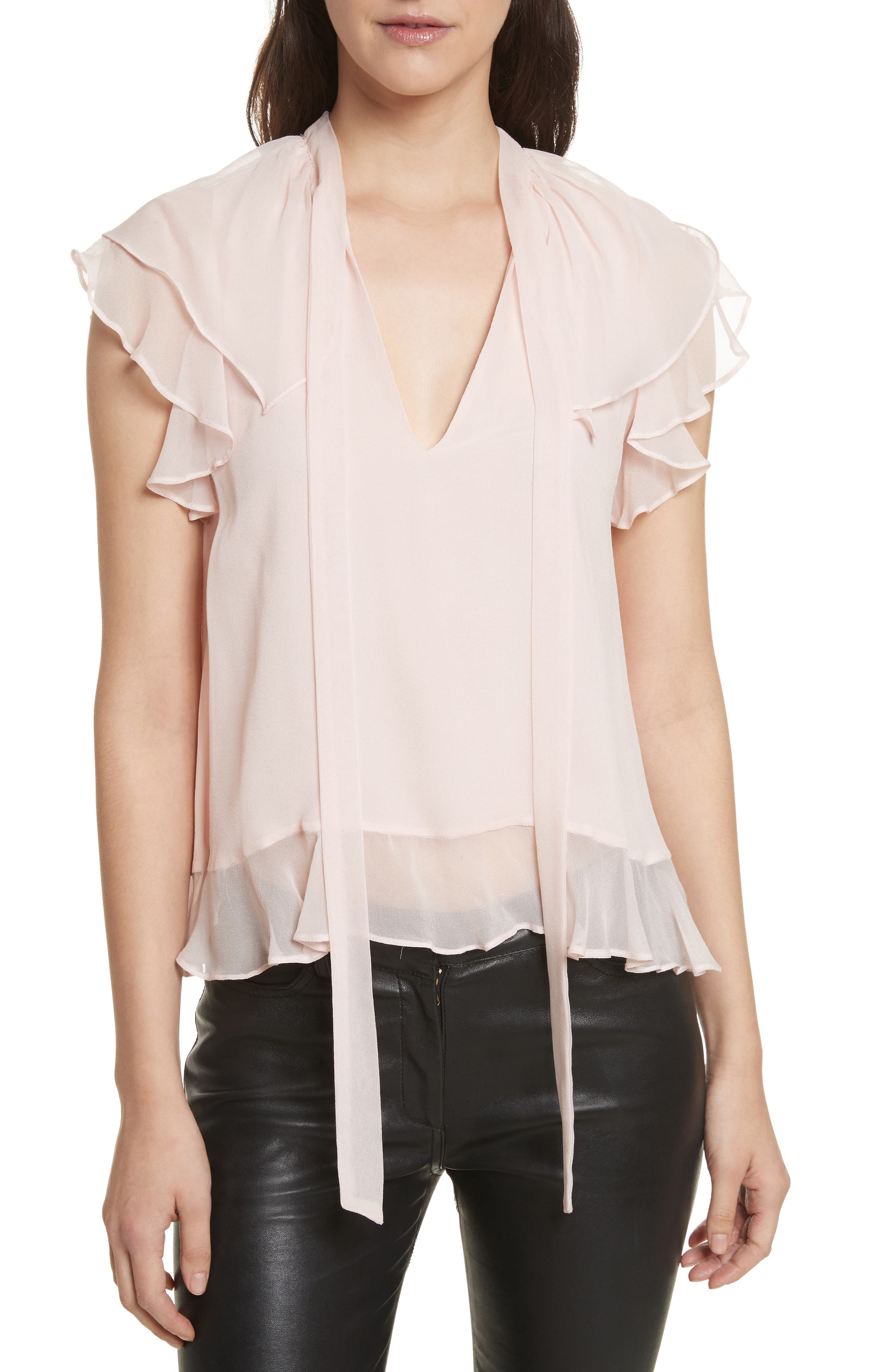 Ronni Tie Neck Top,                             Main thumbnail 1, color,                             Light Pink