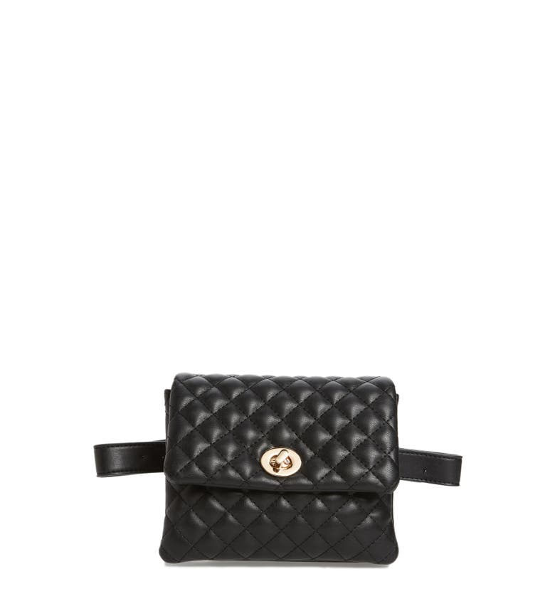 Mali + Lili Quilted Vegan Leather Convertible Belt Bag, Main, color, Black
